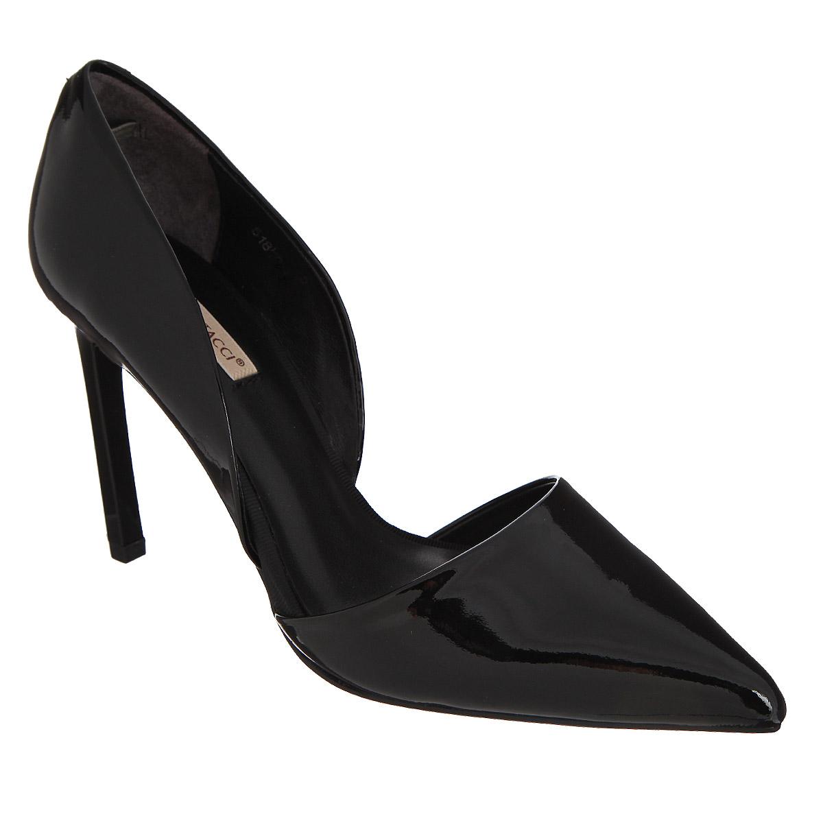Туфли женские. 5181051810Ультрамодные женские туфли Vitacci покорят вас с первого взгляда. Модель на высоком каблуке-шпильке изготовлена из натуральной лакированной кожи. Боковые стороны оформлены элегантными вырезами. Зауженный носок добавит женственности в ваш образ. Стелька из натуральной кожи позволит ногам дышать. Подошва дополнена противоскользящим рифлением. Модные туфли займут достойное место среди вашей коллекции обуви.