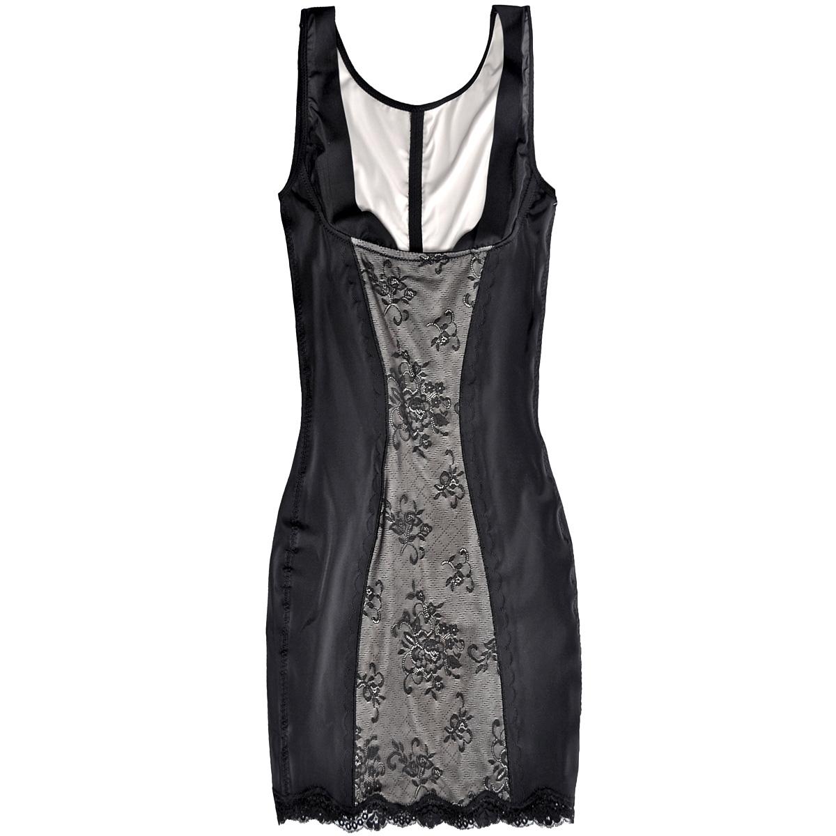 Платье Luxury Lace Dress, корректирующее. 49LD49LDКорректирующее платье Magic BodyFashion Luxury Lace Dress, декорированное гипюровой вставкой и ажурным кружевом, очень удобное и комфортное в носке. Эта модель нежно сформирует линию бедер и подтянет живот и талию. Функциональный покрой заметно подтягивает и моделирует фигуру, скрывая ее недостатки. Крой платья необычен, благодаря чему его невозможно заметить под любой одеждой, оно практически не ощущается на коже, позволяет чувствовать себя комфортно и легко. Изделие позволяет приобрести выразительные линии своего тела за считанные секунды (можно скрыть все лишнее). Белье Magic BodyFashion создано для тех, кто стремится к безупречности своего стиля. Именно благодаря ему огромное количество женщин чувствуют себя поистине соблазнительными, привлекательными и не на шутку уверенными в себе.