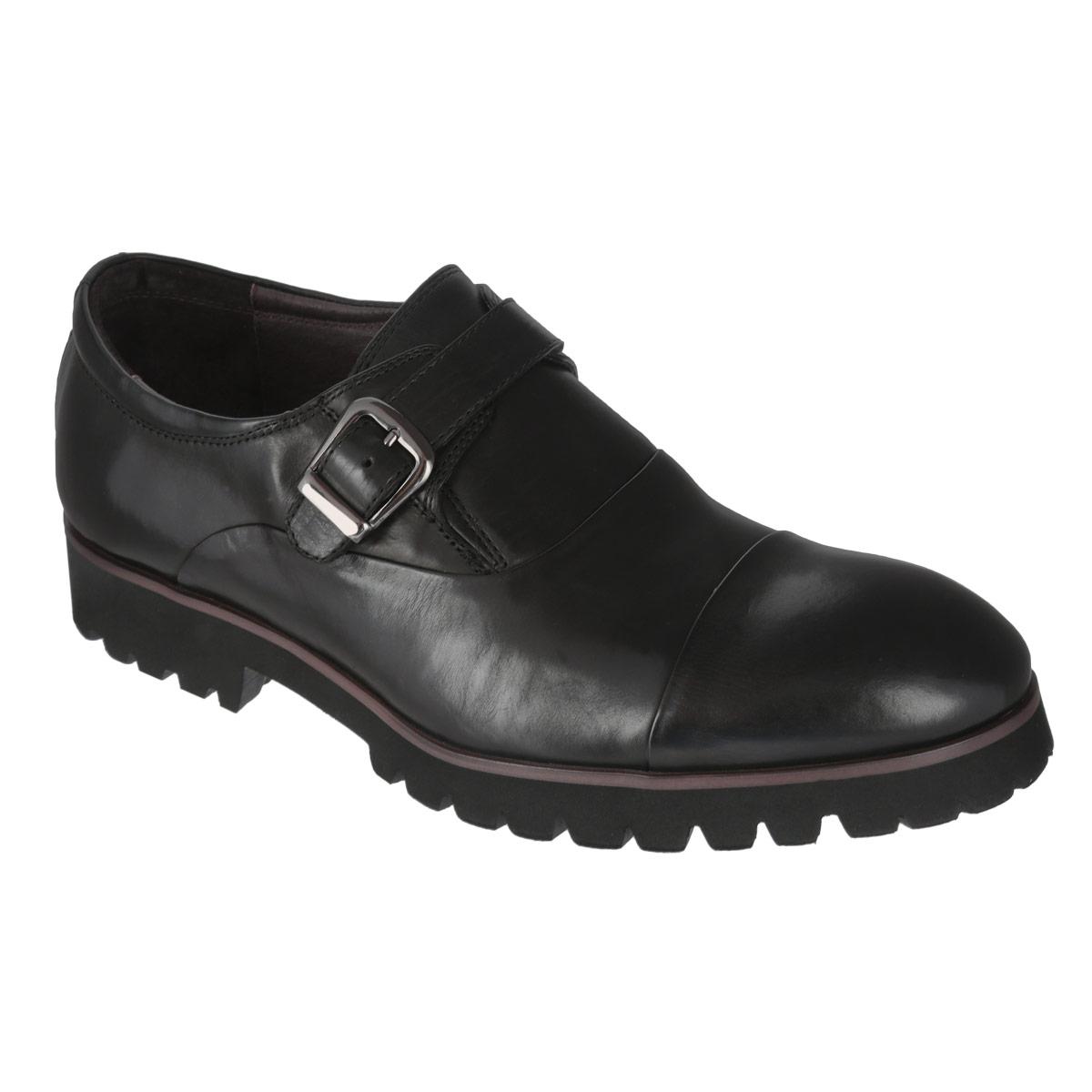 M22008Трендовые мужские туфли Vitacci займут достойное место в вашем гардеробе. Модель изготовлена из высококачественной натуральной кожи и оформлена задним наружным ремнем, контрастной полоской на подошве. Стрейчевая вставка и ремешок с металлической пряжкой прямоугольной формы, расположенные на подъеме, обеспечивают оптимальную посадку обуви. Длина ремешка регулируется за счет болта. Стелька из натуральной кожи оснащена перфорацией, что позволяет ногам дышать. Каблук и подошва с протектором обеспечивают идеальное сцепление с поверхностью. Стильные туфли не оставят равнодушным ни одного мужчину.