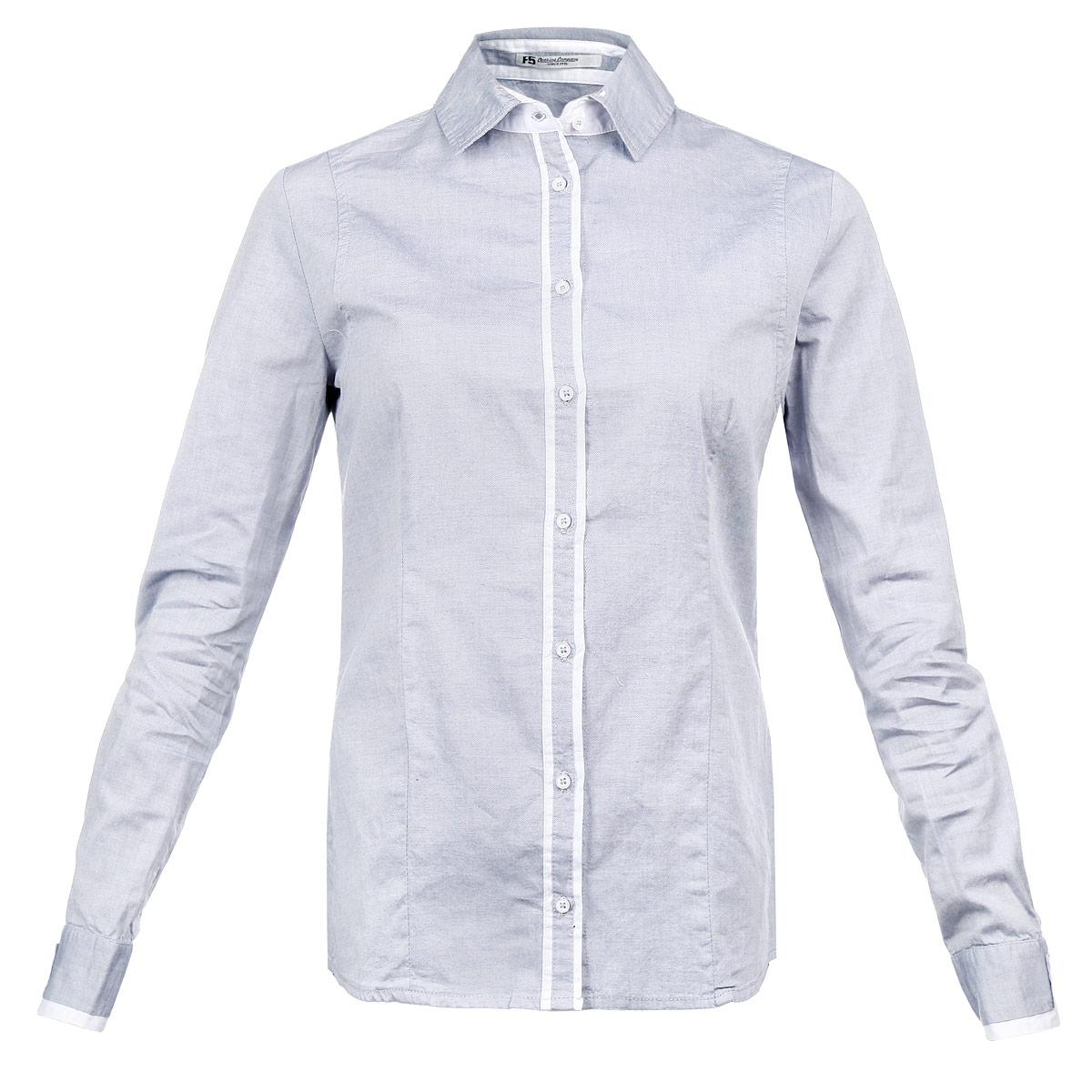Рубашка женская. 17281 - F517281Симпатичная женская рубашка F5, выполненная из высококачественного материала, очень комфортна при носке. Модель приталенного кроя с полукруглым низом, длинными рукавами и отложным воротничком застегивается на пуговицы. Манжеты и планка с пуговицами отделаны вставками из материала контрастного цвета. Такая рубашка будет дарить вам комфорт в течение всего дня и послужит замечательным дополнением к вашему гардеробу.