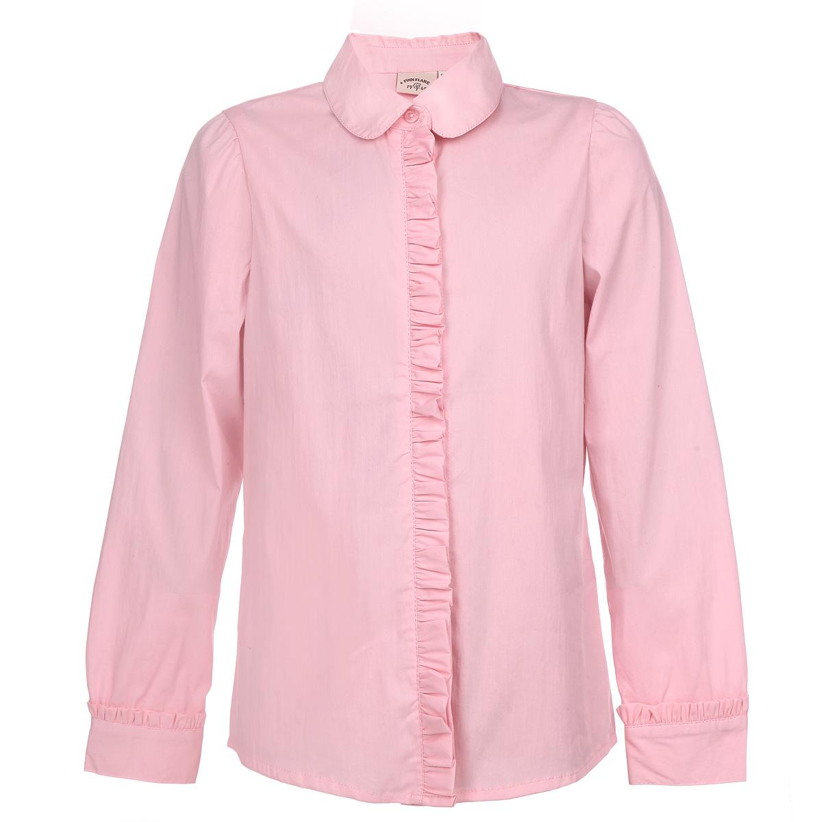 Блузка для девочки. KA15-71015JKA15-71015JЭлегантная блузка для девочки Finn Flare Kids идеально подойдет для школьной формы. Изготовленная из высококачественного материала, она мягкая, легкая и приятная на ощупь, не сковывает движения и позволяет коже дышать, не раздражает даже самую нежную и чувствительную кожу ребенка, обеспечивая наибольший комфорт. Блузка трапециевидного кроя с длинными рукавами-фонариками, полукруглым низом и отложным воротничком застегивается по всей длине на пластиковые пуговицы. Рукава дополнены широкими манжетами на пуговицах. Планка и манжеты украшены нежными рюшами. Такая блузка - незаменимая вещь для школьной формы, отлично сочетается с юбками, брюками и сарафанами. Эта модель всегда выглядит великолепно!