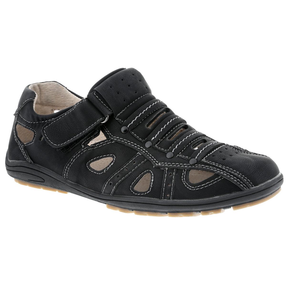 Туфли для мальчика. ADL-3ADL-3Стильные туфли от Adagio покорят вашего мальчика с первого взгляда! Модель выполнена из искусственной кожи и оформлена декоративной прострочкой, перфорацией для лучшей воздухопроницаемости. Подъем декорирован металлическими заклепками. Ремешок на застежке-липучке надежно зафиксирует обувь на ноге. Стелька из натуральной кожи дополнена супинатором с перфорацией, который обеспечивает правильное положение ноги ребенка при ходьбе, предотвращает плоскостопие. Рифленая поверхность подошвы защищает изделие от скольжения. Удобные туфли - незаменимая вещь в гардеробе каждого ребенка.