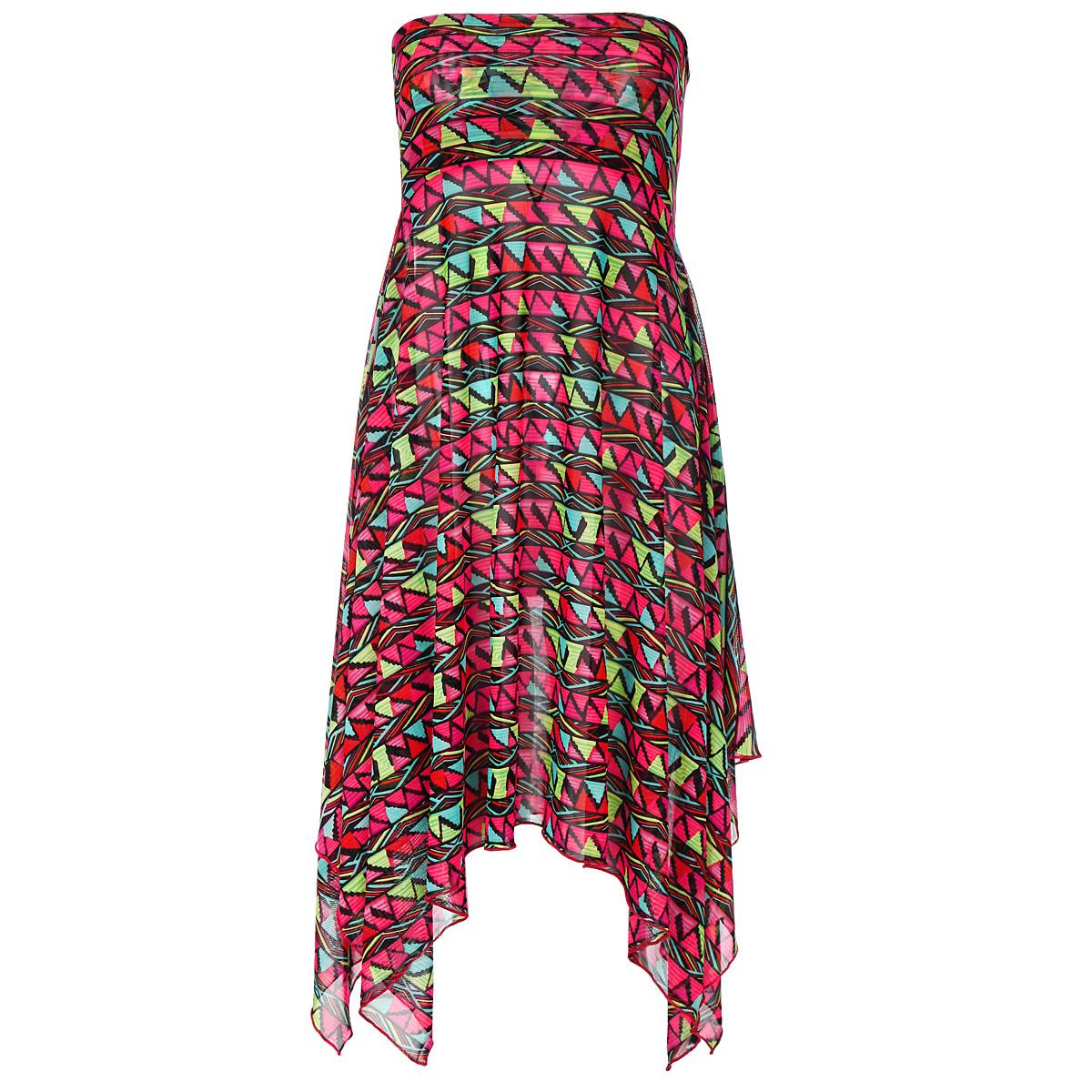 Пляжное платьеBB715Удобное и функциональное платье-юбка Barbara Bettoni, выполненное из сетчатого полиэстера, оформлено ярким принтовым узором. Изделие представляет собой расклешенную юбку на широком поясе с боковым разрезом по всей длине. Края модели асимметричные, что создает необычный силуэт и добавляет изысканности образу. Изделие также великолепно смотрится и как короткое платье-бандо. В сочетании с ярким купальником платье-юбка от Barbara Bettoni позволит создать стильный пляжный ансамбль, в котором вы не останетесь незамеченной! Новая коллекция пляжной одежды от марки Barbara Bettoni отражает мировые тенденции пляжной моды и выступает прекрасным дополнением к коллекции купальников Barbara Bettoni Moda Di Mare.
