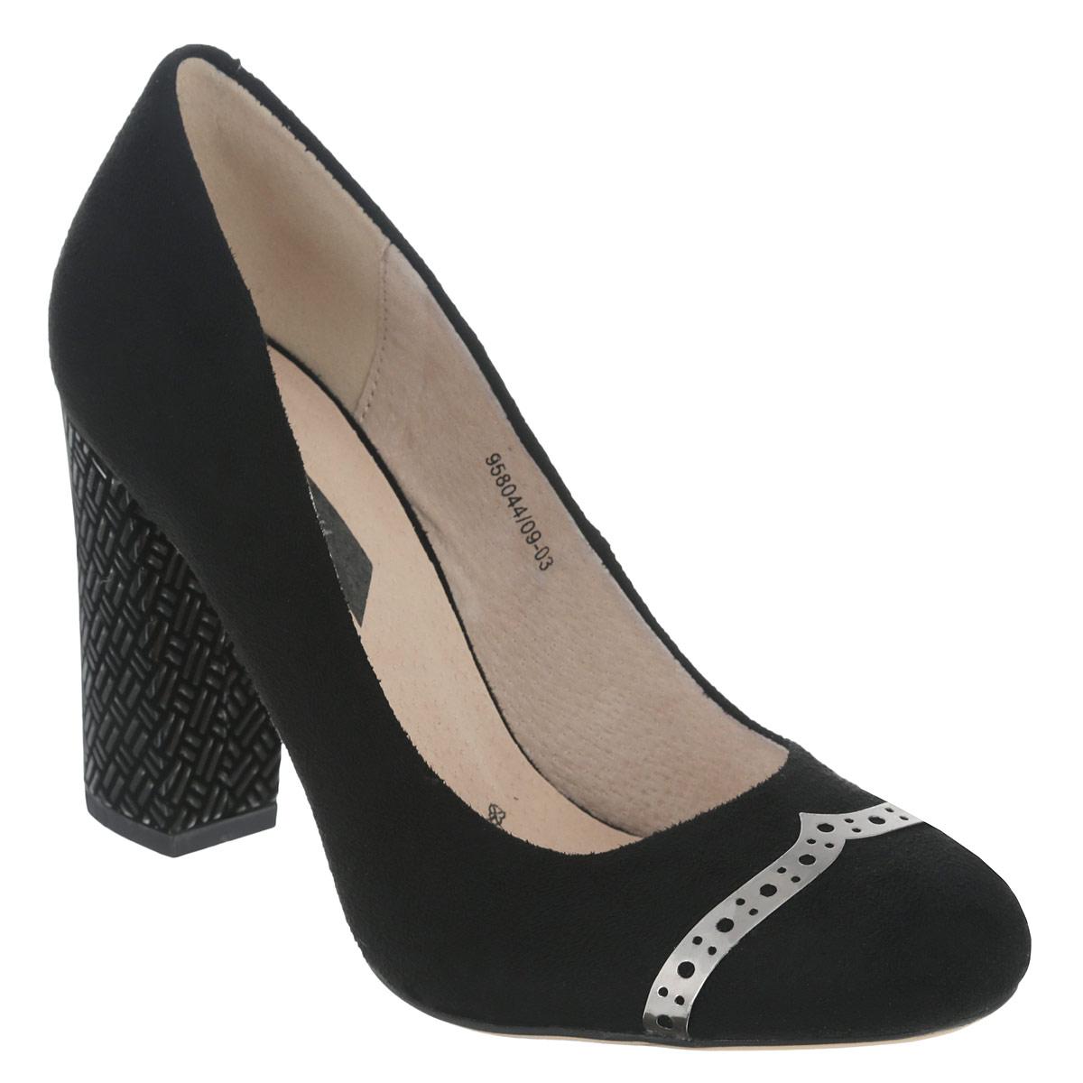 Туфли женские. 958044/09-03958044/09-03Эффектные женские туфли Elisabeth займут достойное место среди вашей коллекции обуви. Модель с округлым мысом изготовлена из искусственной замши. Мыс изделия оформлен перфорированной металлической вставкой. Стелька из натуральной кожи позволит ногам дышать. Умеренной высоты толстый каблук, оформленный геометрическим рисунком, обеспечит комфорт при ходьбе. Каблук и подошва дополнены противоскользящим рифлением. Стильные туфли покорят вас с первого взгляда.
