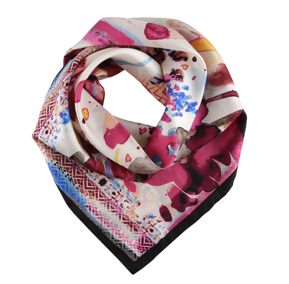 Платок14YL055-AЗамечательный женский платок Fabretti преобразит любой наряд. Модель изготовлена из шелка и оформлена интересным абстрактным узором. Края модели по периметру обработаны вручную. Легкая ткань платка способная превратить женщину в хрупкую, загадочную леди и привнесет в вашу жизнь яркие цвета. Платок можно повязать на шею, украсить им причёску или повесить на сумочку. Платок Fabretti станет вашим верным спутником, а окружающие обязательно будут обращать свое восторженное внимание на вас!