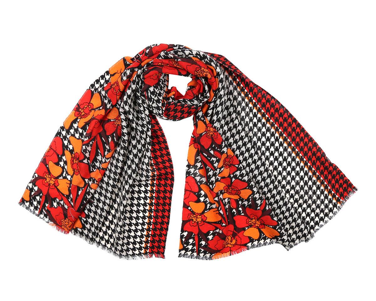 Шарф женский. 513308513308-2Модный женский шарф Leo Ventoni подарит вам уют и станет стильным аксессуаром, который призван подчеркнуть вашу индивидуальность и женственность. Шарф выполнен из 100% шерсти, оформлен принтом в мелкую клетку и изображениями цветов, а также дополнен тонкой бахромой по краям. Этот модный аксессуар гармонично дополнит образ современной женщины, следящей за своим имиджем и стремящейся всегда оставаться стильной и элегантной. Такой шарф украсит любой наряд и согреет вас в непогоду, с ним вы всегда будете выглядеть изысканно и оригинально.