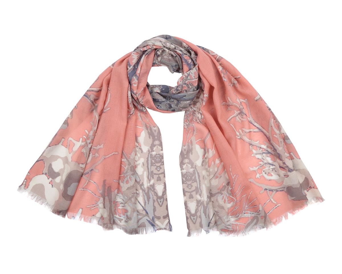 Шарф женский. B217B217-2Элегантный шарф Fabretti подчеркнет ваш неповторимый образ. Модель легкая с приятной фактурой, изготовлена из шерсти и оформлена оригинальным рисунком, характеризующим ветви дерева. Края модели декорированы бахромой. Этот модный аксессуар женского гардероба проакцентирует верхнюю одежду, относящуюся к любому сезону и гармонично дополнит образ современной женщины, следящей за своим имиджем и стремящейся всегда оставаться стильной и элегантной.