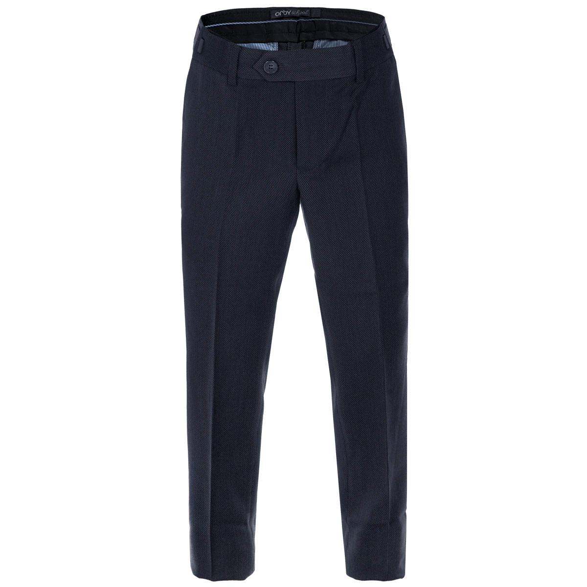 Брюки для мальчика. 6301663016Классические брюки для мальчика Orby - основа повседневного школьного гардероба. Изготовленные из высококачественного материала, они необычайно мягкие и приятные на ощупь, не сковывают движения и позволяют коже дышать, не раздражают даже самую нежную и чувствительную кожу ребенка, обеспечивая ему наибольший комфорт. В качестве подкладки используется гладкая подкладочная ткань. Брюки прямого покроя с заутюженными стрелками на талии застегиваются на пластиковую пуговицу и на металлический крючок, а также имеют ширинку на застежке-молнии и шлевки для ремня. Плавающая регулировка в поясе брюк (хлястиками на зажимах) обеспечивает комфортную посадку. Спереди брюки дополнены двумя втачными карманами с косыми краями, а сзади - двумя прорезными карманами с клапанами на пуговицах. Такие брюки подходят под различные варианты пиджаков, джемперов и водолазок.