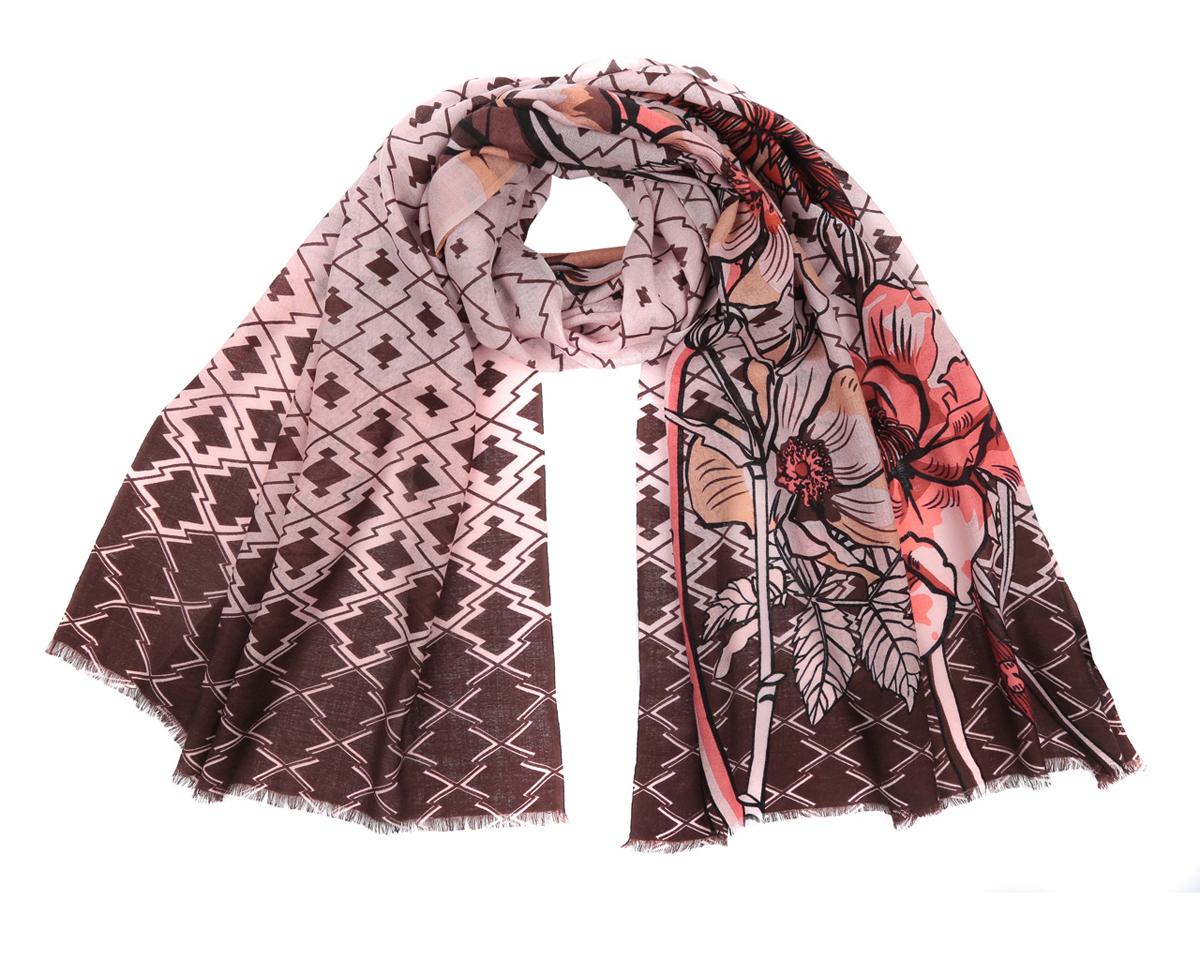 YNNT0226-12Стильный шарф от Leo Ventoni подчеркнет ваш неповторимый образ. Купив один-единственный аксессуар, вы можете полностью изменить свой образ, экспериментируя со способами его завязывания и вариациями сочетаний с разными нарядами. Модель легкая с приятной фактурой, изготовлена из мерсеризованной шерсти, благодаря чему полотно шарфа тонкое и теплое. Шарф украшен орнаментами и крупными цветами. Края модели декорированы бахромой. Шарф Leo Ventoni гармонично дополнит образ современной женщины следящей за своим имиджем и стремящейся всегда оставаться стильной и элегантной.