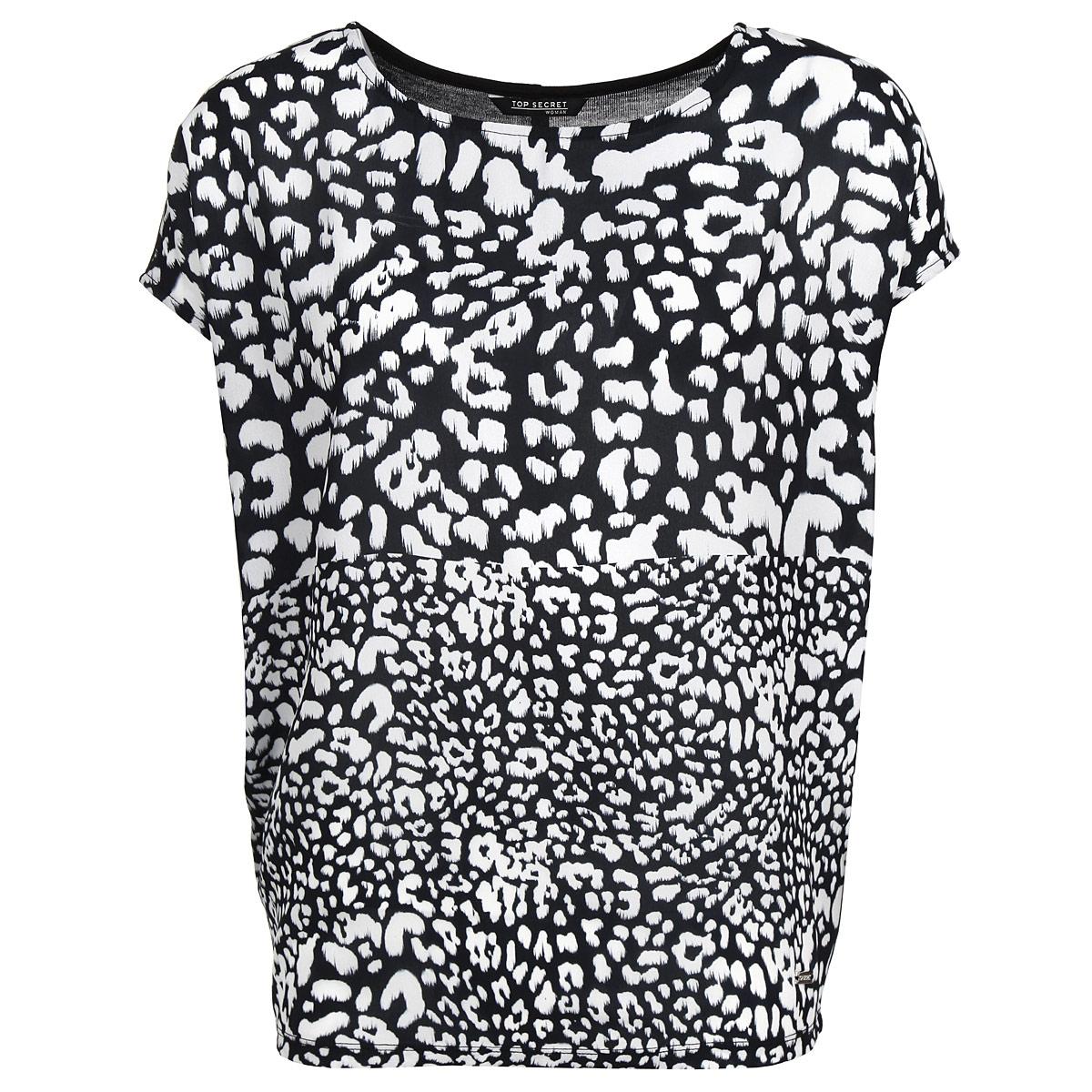 БлузкаSBK2113BIСтильная блуза Top Secret, выполненная из высококачественного материала, подчеркнет ваш уникальный стиль и поможет создать оригинальный женственный образ. Блузка свободного кроя с короткими рукавами-кимоно и круглым вырезом горловины оформлена принтом в виде контрастных пятен леопарда. Легкая блуза идеально подойдет для жарких летних дней. Такая блузка будет дарить вам комфорт в течение всего дня и послужит замечательным дополнением к вашему гардеробу.