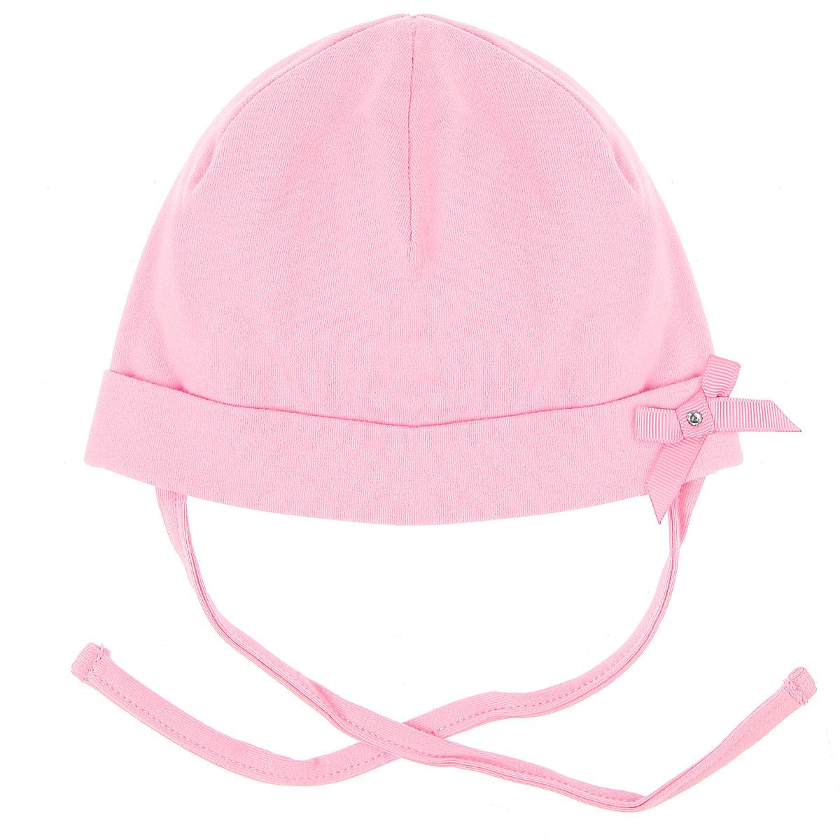 Шапка для девочки. 358030358030Очаровательная шапка для девочки PlayToday Baby прекрасно подойдет для прогулок в ветреную погоду. Изготовленная из эластичного хлопка, она необычайно мягкая и легкая, не раздражает нежную кожу ребенка и хорошо вентилируется. Двухслойная шапочка с отворотом дополнена завязками, которые надежно фиксируют ее на голове малышки. Украшена шапочка атласным бантиком и стразом. Такая шапка станет прекрасным дополнением к гардеробу вашей маленькой модницы!