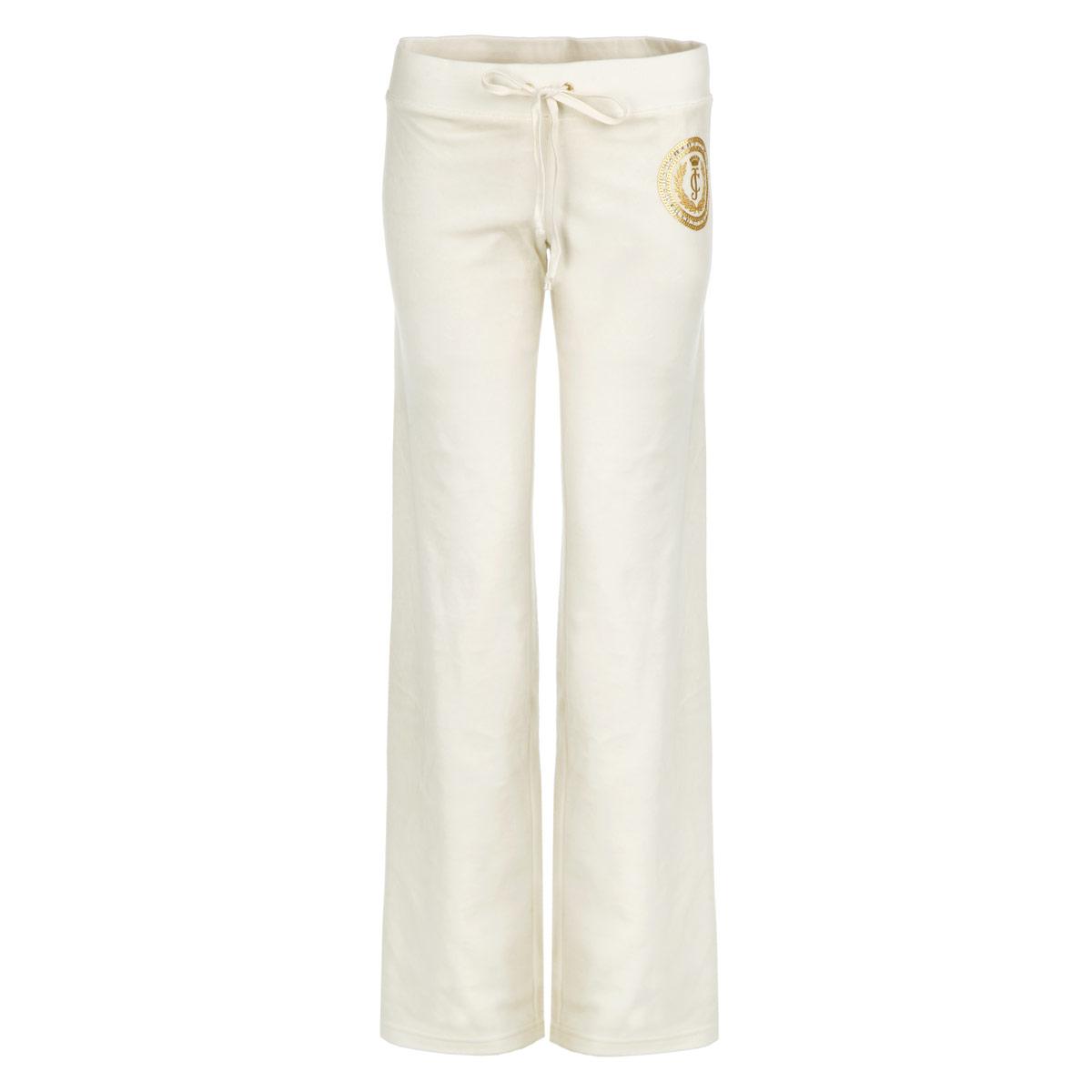 Брюки женский. WTKB31357/109WTKB31357/109Удобные женские брюки Juicy Couture, выполненные из велюра высочайшего качества, отлично подойдут на каждый день. Модель прямого кроя - настоящее воплощение комфорта, такие брюки не сковывают движений и обеспечивают наибольшее удобство. Пояс брюк дополнен широкой эластичной резинкой с затягивающимся шнурком-кулиской. Брюки оформлены узором в блестящей золотистой печати. Эти модные и в тоже время комфортные брюки послужат отличным дополнением к вашему гардеробу. В них вы всегда будете чувствовать себя уютно и уверенно.