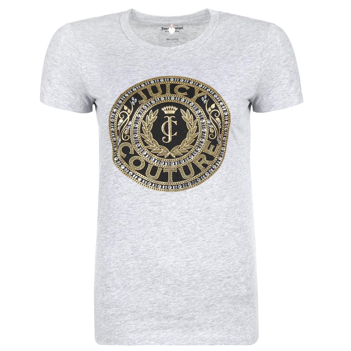 WTKT31342/049Стильная женская футболка Juicy Couture, выполненная из высококачественного хлопка, обладает высокой теплопроводностью, воздухопроницаемостью и гигроскопичностью, позволяет коже дышать. Модель с короткими рукавами и круглым вырезом - идеальный вариант для создания образа в стиле Casual. Футболка оформлена стильным дизайном в виде печати, украшенной золотистой вышивкой и стразами. Такая модель подарит вам комфорт в течение всего дня и послужит замечательным дополнением к вашему гардеробу.