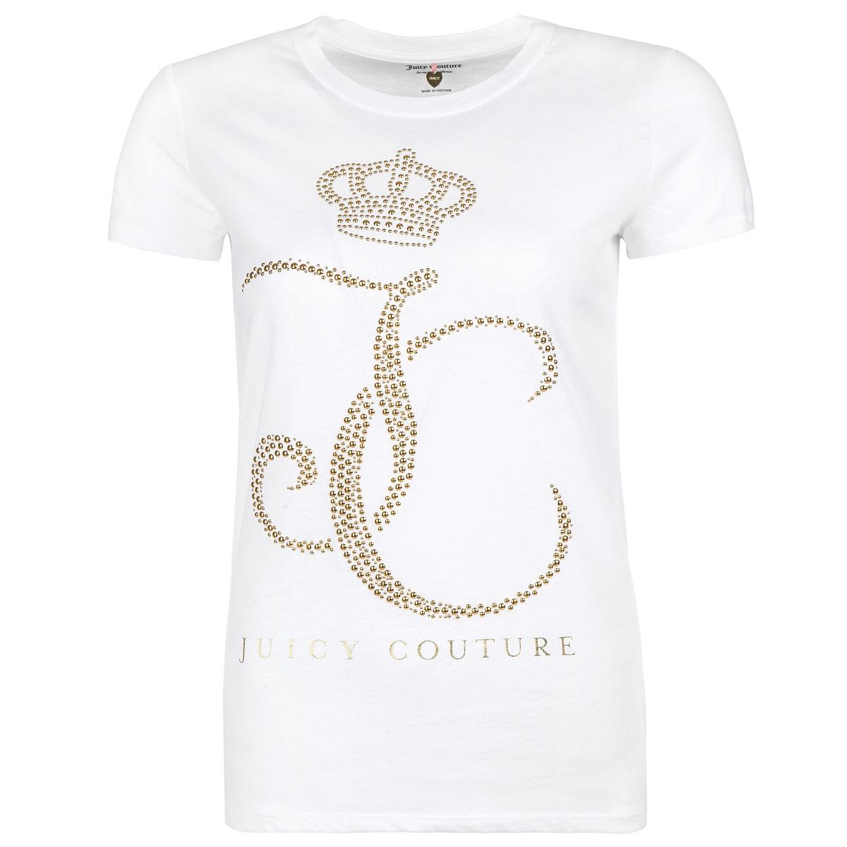 ФутболкаWTKT31338/119Стильная женская футболка Juicy Couture, выполненная из высококачественного хлопка, обладает высокой теплопроводностью, воздухопроницаемостью и гигроскопичностью, позволяет коже дышать. Модель с короткими рукавами и круглым вырезом - идеальный вариант для создания образа в стиле Casual. Футболка оформлена стильным дизайном в виде выложенных блестящими золотистыми стразами букв JC и короны над ними. Такая модель подарит вам комфорт в течение всего дня и послужит замечательным дополнением к вашему гардеробу.