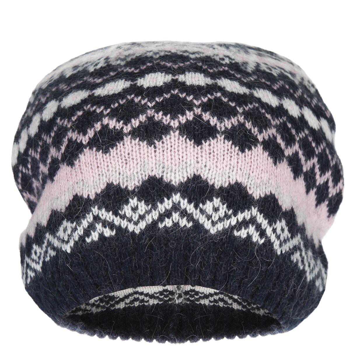 Шапка женская. HAk-141/155AY-5404HAk-141/155AY-5404Стильная шапка Sela идеально подойдет для прогулок и занятия спортом в прохладное время года. Шапка мелкой вязки изготовлена из мягкой высококачественной пряжи, она обладает хорошими дышащими свойствами и отлично удерживает тепло. Шапка украшена геометрическим узором в виде ромбов и треугольников. Такая шапка станет модным и стильным дополнением вашего зимнего гардероба. Она поднимет вам настроение даже в самые морозные дни! Уважаемые клиенты! Размер, доступный для заказа, является обхватом головы.