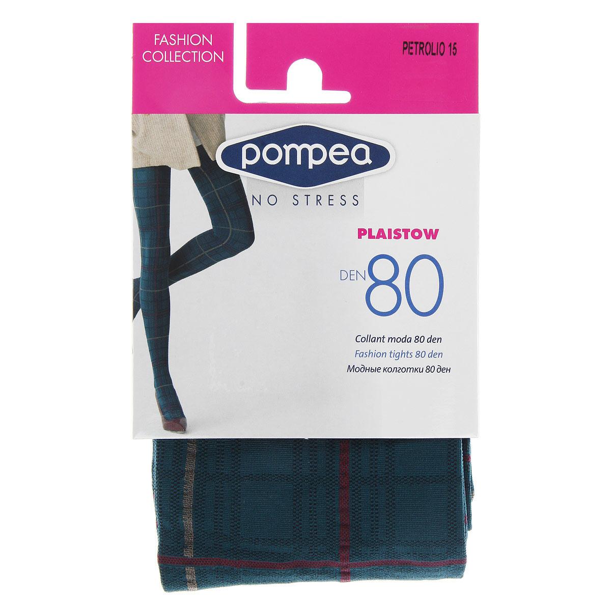 Колготки женские Pompea Plaistow Fashion 80. 9076898290768982 Petrolio 15Модные женские фантазийные колготки плотностью 80 Ден, без трусиков.