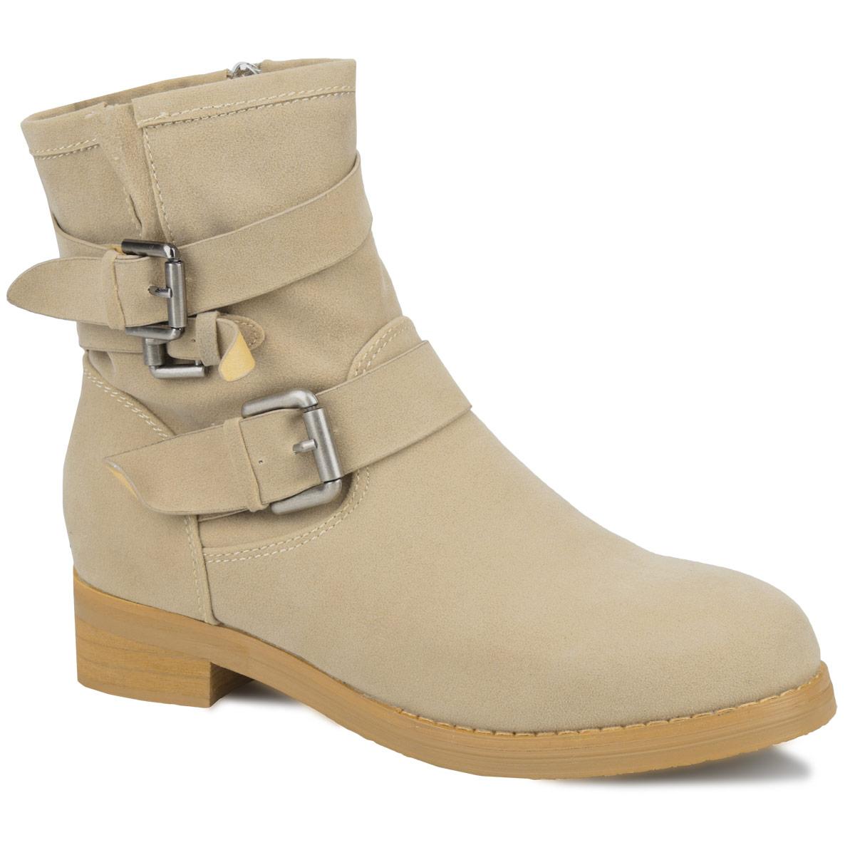 Ботинки женские. YA3-037-01 AX/DXYA3-037-01 AXУдобные ботинки от Yaro займут достойное место в вашем гардеробе. Модель выполнена из искусственного спилока и оформлена лаконичной прострочкой, тремя декоративными ремешками с металлическими пряжками (один ремешок расположен на подъеме, два ремешка, пропущенные через шлевки на заднем ремне, украшают голенище). Ботинки застегиваются при помощи застежки-молнии, расположенной на одной из боковых сторон. Подкладка и стелька из байки согреют ваши ноги в холодную погоду. Умеренной высоты каблук стилизован под дерево. Рифленая поверхность подошвы гарантирует отличное сцепление с любыми поверхностями. В таких ботинках вы всегда будете чувствовать себя уютно и комфортно!