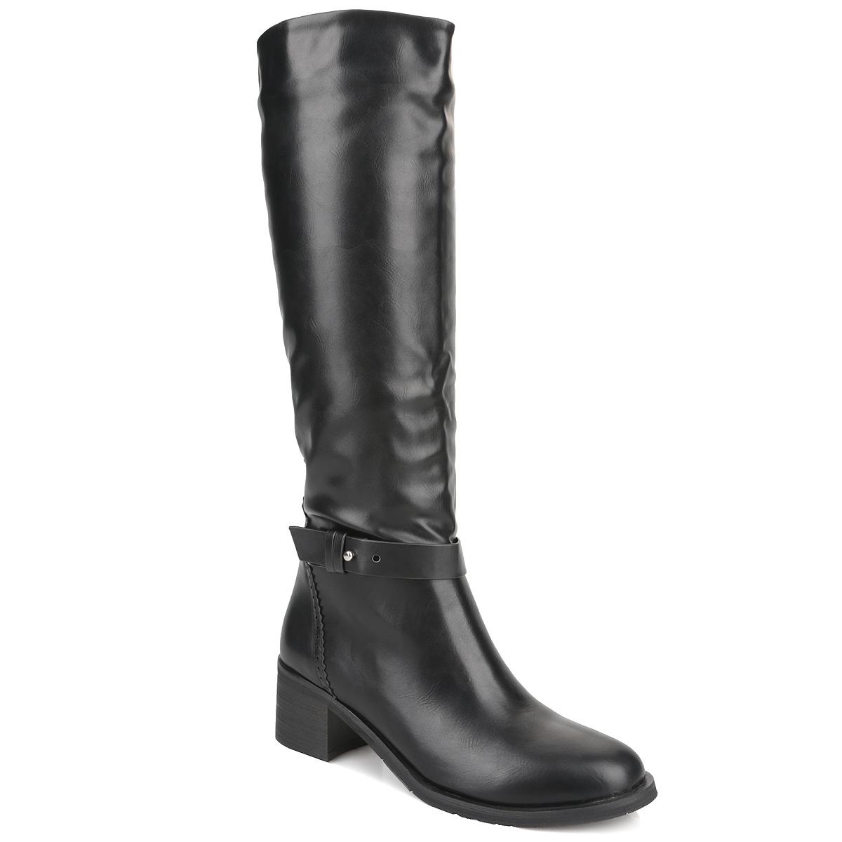 Cапоги женские. Y42-AX-03 AY42-AX-03 AСтильные сапоги от Yaro займут достойное место среди вашей коллекции обуви. Модель выполнена из искусственной кожи и оформлена перфорацией и резной окантовкой на задней поверхности. Подъем изделия украшен поперечным ремешком. Сапоги застегиваются на удобную боковую застежку-молнию. Резинки, расположенные на голенище, отвечают за оптимальную посадку модели на вашей ноге. Мягкая подкладка и стелька из байки сохраняют тепло, обеспечивая максимальный комфорт при движении. Умеренной высоты каблук устойчив. Каблук и подошва дополнены противоскользящим рифлением. Удобные сапоги - незаменимая вещь в гардеробе каждой женщины.