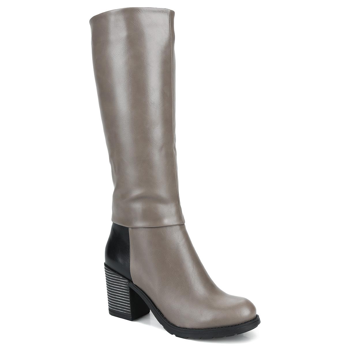 Cапоги женские. Y42-GY-02 CY42-GY-02 CСтильные сапоги от Yaro займут достойное место среди вашей обуви. Модель выполнена из искусственной кожи и оформлена вставкой контрастного цвета на заднике. Сапоги застегиваются на удобную боковую застежку-молнию. Резинки, расположенные на голенище, отвечают за оптимальную посадку модели на вашей ноге. Мягкая подкладка и стелька из байки сохраняют тепло, обеспечивая максимальный комфорт при движении. Умеренной высоты каблук с рельефной поверхностью оформлен напылением. Каблук и подошва дополнены противоскользящим рифлением. Удобные сапоги - незаменимая вещь в гардеробе каждой женщины.