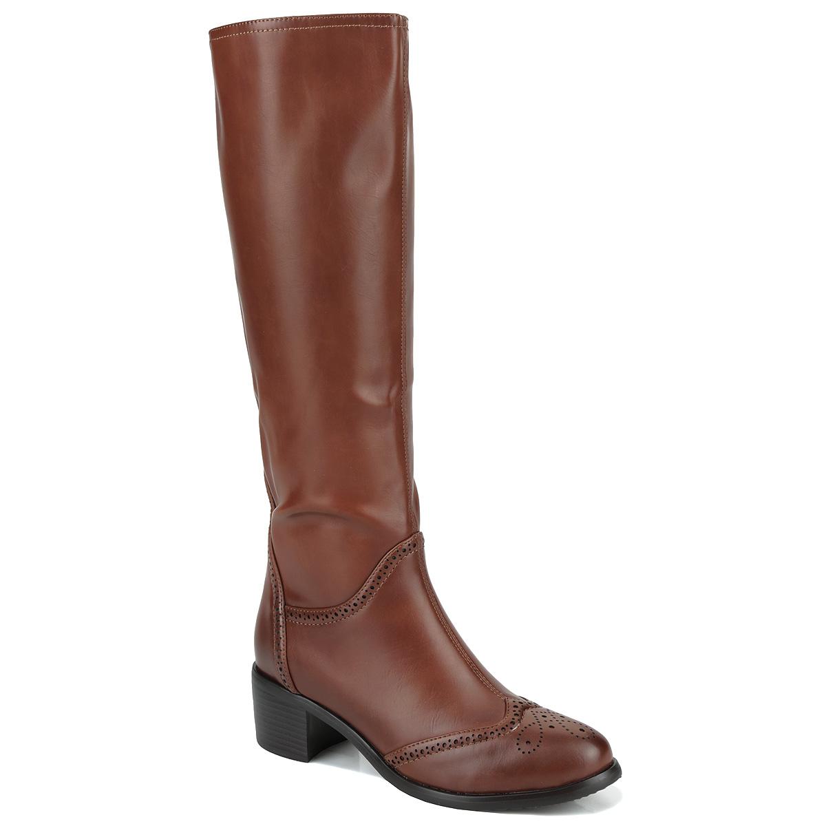 Сапоги женские. 42-EF-0242-EF-02 CXСтильные женские сапоги от Wilmar покорят вас с первого взгляда. Модель выполнена из искусственной кожи и оформлена перфорацией. Сапоги застегивается на боковую застежку-молнию. Резинки, расположенные на голенище, обеспечивают оптимальную посадку модели на ноге. Подкладка и стелька из байки согреют ваши ноги в холодную погоду. Каблук умеренной высоты обеспечит модели устойчивость. Подошва с рифлением защищают изделие от скольжения. Великолепные сапоги подчеркнут ваш стиль и яркую индивидуальность. В них вы всегда будете чувствовать себя уютно и комфортно!