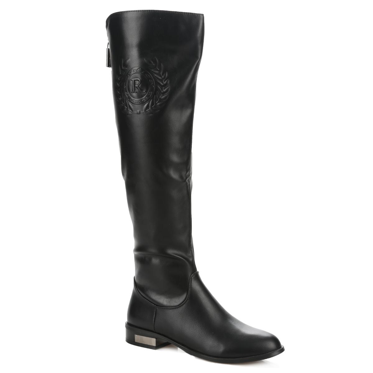 Сапоги женские. 60202-02-1B60202-02-1BСтильные сапоги от Inario придутся вам по душе! Модель изготовлена из мягкой искусственной кожи и оформлена на голенище конгревным тиснением, на каблуке - металлической вставкой. Застежки-молнии, расположенные на голенище и сбоку, позволяют оптимально зафиксировать обувь на вашей ноге. Мягкая подкладка и стелька из байки сохраняют тепло, обеспечивая максимальный комфорт при движении. Невысокий каблук устойчив. Подошва - с противоскользящим рифлением. Эффектные сапоги выделят вас среди окружающих!
