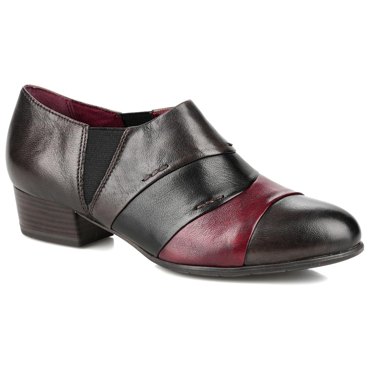 Полуботинки женские. 1-1-24301-25-3911-24301-25-391Эффектные женские полуботинки Tamaris займут достойное место в вашем гардеробе. Модель выполнена из натуральной кожи и оформлена на мысе вставками контрастных цветов, декоративными внешними швами. Резинки, расположенные сбоку, обеспечивают оптимальную посадку обуви на ноге. Кожаная стелька позволяет ногам дышать. Невысокий каблук устойчив. Подошва и каблук оснащены противоскользящим рифлением. Модные полуботинки добавят шика в модный образ и подчеркнут ваш безупречный вкус.