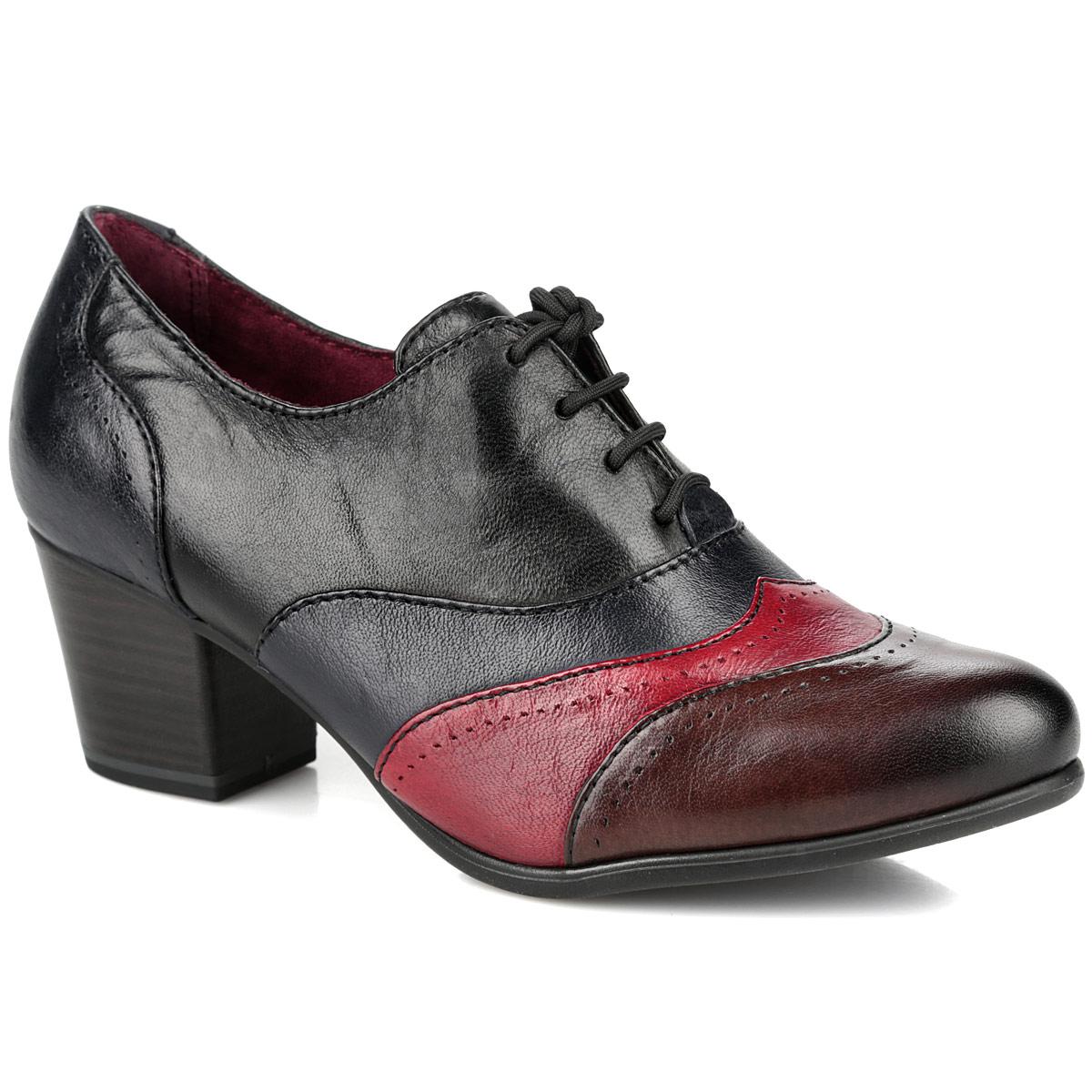 Ботильоны. 1-1-23305-25-0981-23305-25-098Эффектные ботильоны от Tamaris займут достойное место в вашем гардеробе. Модель выполнена из натуральной кожи и оформлена перфорацией, на мысе - вставками контрастных цветов. Шнуровка надежно фиксирует обувь на ноге. Подкладка и стелька из натуральной кожи позволяют ногам дышать. Невысокий каблук, стилизованный под дерево, устойчив. Рифленая поверхность каблука и подошвы защищает изделие от скольжения. Модные ботильоны помогут вам создать красивый и гармоничный образ!