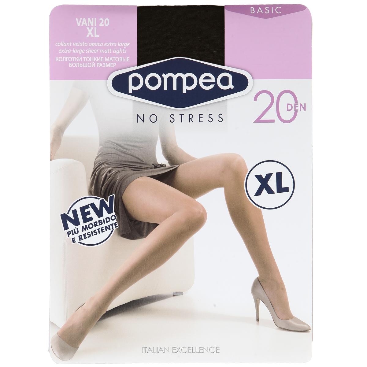 Колготки женские. Vani 20Vani 20Матовые эластичные колготки на каждый день Pompea Vani, с комфортной резинкой, шортиками, ластовицей и укрепленным мыском. Плотность: 20 den.