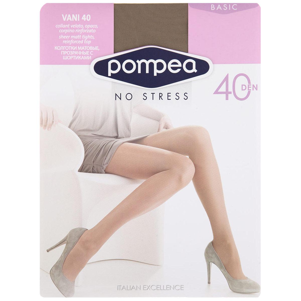 Колготки женские Vani. 720480720480 NeroМатовые эластичные колготки Pompea Vani, с комфортной резинкой, шортиками и укрепленным мыском. Плотность: 40 den.