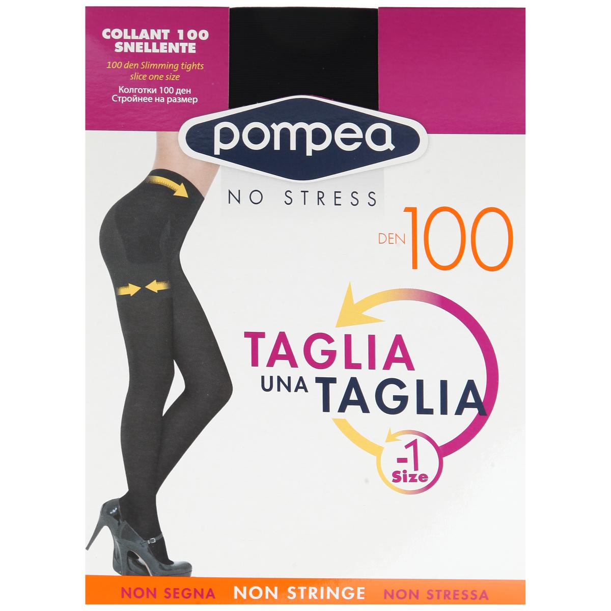 Колготки женские Pompea Taglia Una Taglia 100. 9076891490768914 NeroМатовые эластичные колготки Pompea Taglia Una Taglia, непрозрачные, эластичная 3D нить двойной обкрутки, с утягивающими и корректирующими фигуру трусиками 150 ден, уменьшают объем на один размер, идеально моделируют область живота, ягодиц и бедер, с плоским швом и хлопчатобумажной. Плотность: 100 den.