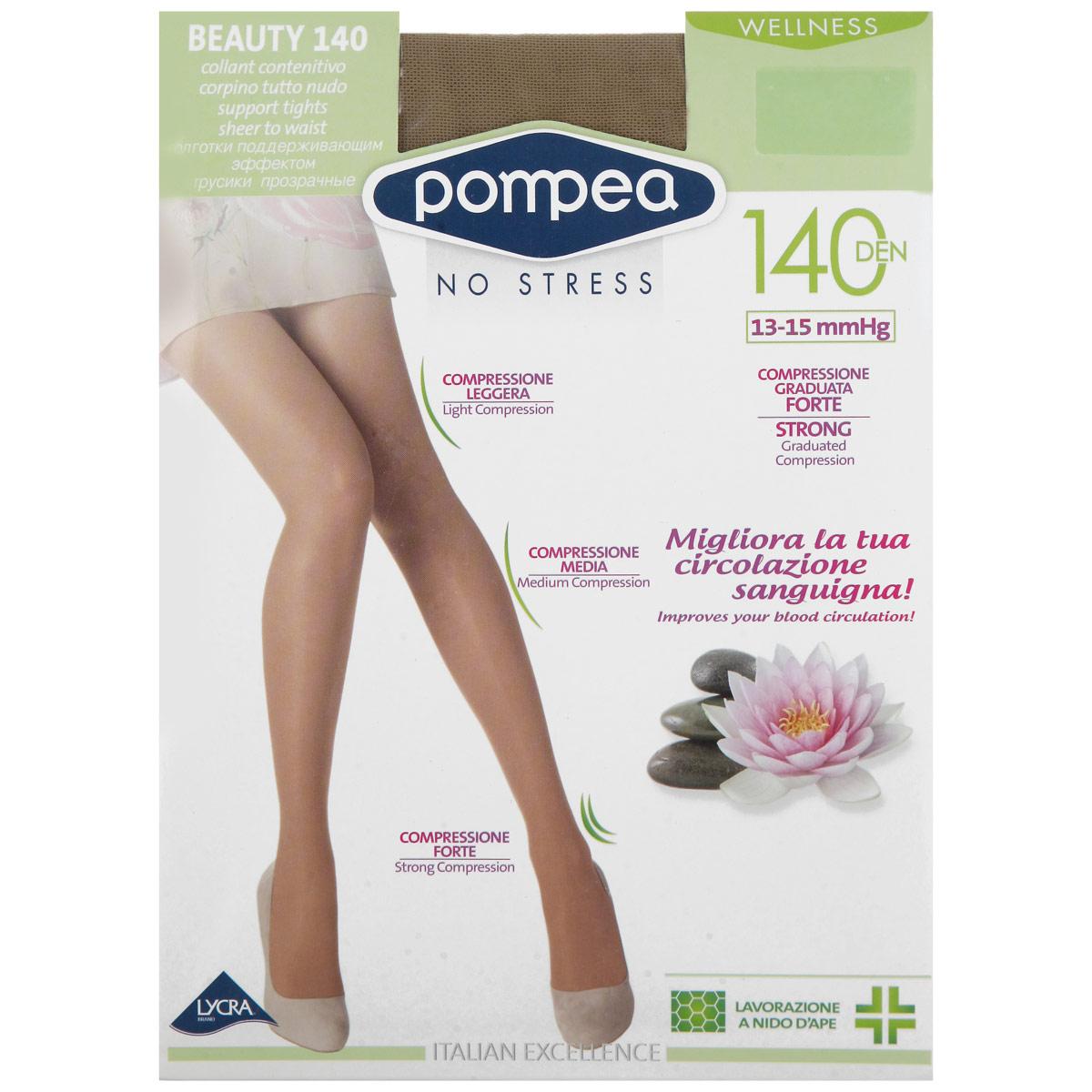 Колготки Intensive Beauty Wellness 140. 9076783590767835_NatureКолготки женские плотностью 140 Ден, без трусиков, вязка соты, плоские швы, ластовица из хлопка, укрепленные носок и пятка, с эффектом стимулирующим кровообращение в ноге. Нить двойного плетения (3д лайкра), градуированная компрессия 13-15mm/Hg.