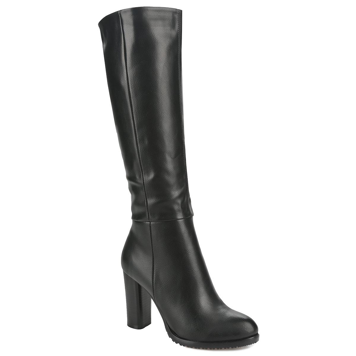 Сапоги женские. 60103-0160103-01-1BКлассические сапоги от Inario не оставят вас равнодушной! Модель выполнена из мягкой искусственной кожи и исполнена в лаконичном стиле. Сапоги застегиваются на боковую застежку-молнию. Вшитая резинка, расположенная на голенище, отвечает за оптимальную посадку обуви на ноге. Мягкая подкладка и стелька из байки сохраняют тепло, обеспечивая максимальный комфорт при движение. Толстый каблук устойчив. Подошва с рифлением защищает изделие от скольжения. Модные сапоги - основа гардероба каждой женщины.