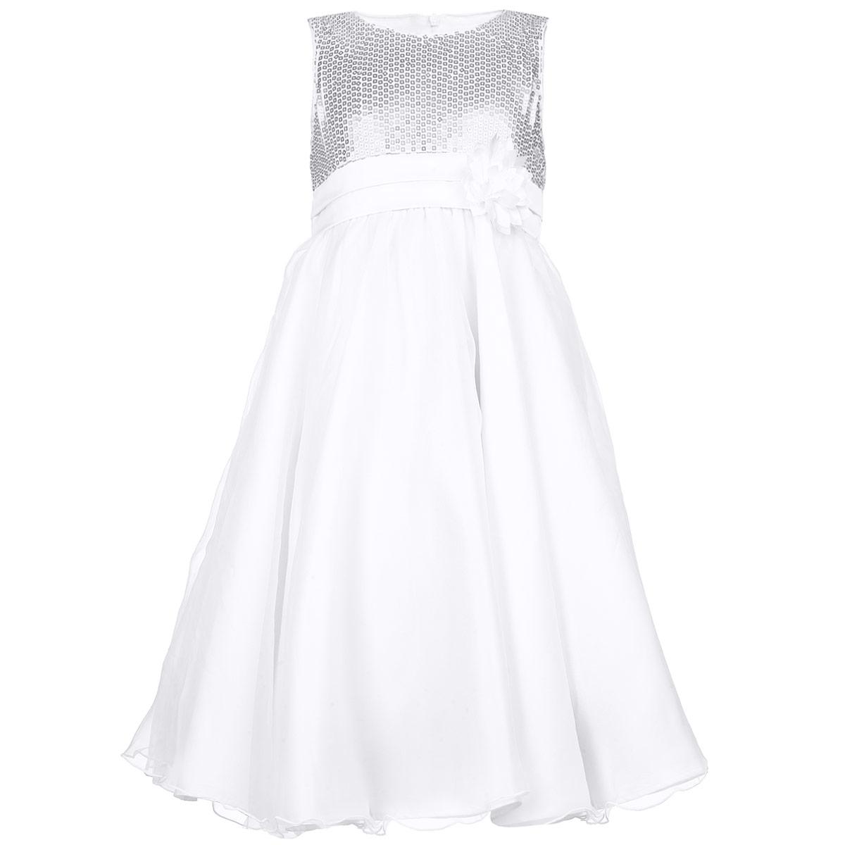 Платье для девочки. 215BBGM2508215BBGM2508Очаровательное платье для девочки Button Blue идеально подойдет вашей маленькой принцессе. Изготовленное из высококачественного материала, оно необычайно мягкое и приятное на ощупь, не сковывает движения и позволяет коже дышать, не раздражает даже самую нежную и чувствительную кожу ребенка, обеспечивая наибольший комфорт. В качестве подкладки используется натуральный хлопок. Платье без рукавов и с круглым вырезом горловины по спинке застегивается на скрытую застежку-молнию, что позволяет легко переодеть ребенка. От завышенной линии талии заложены складочки, придающие изделию пышность. Многослойная юбка выполнена из атласного материала и дополнена верхним слоем из микросетки с волнистой отделкой понизу. Верхняя часть платья украшена пайетками, а также объемным цветочком и двумя крупными складками. Современный дизайн и модная расцветка делают это платье незаменимым предметом детского гардероба. В нем вашей маленькой принцессе будет комфортно и уютно, и она всегда будет в...