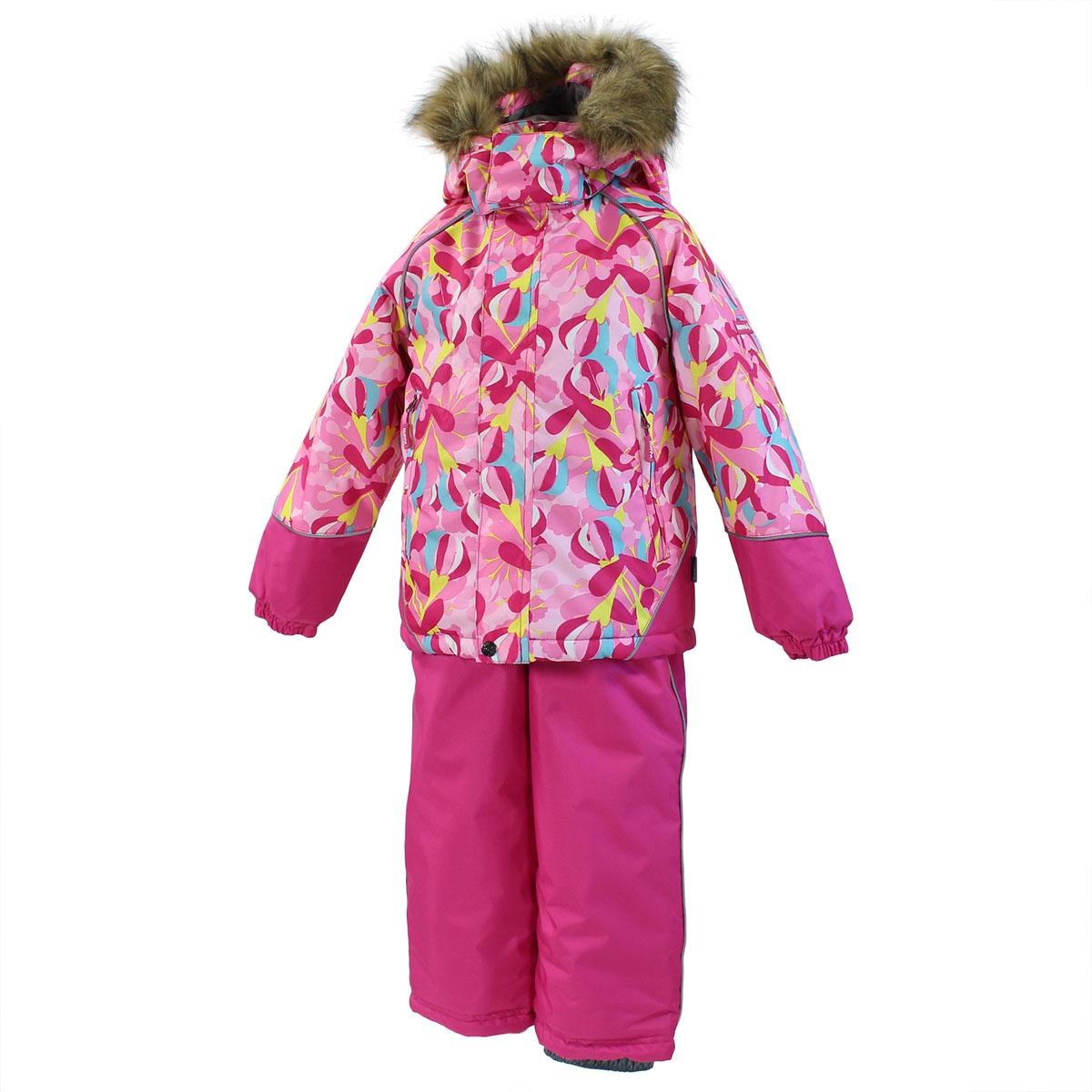 Комплект для девочки Enzy: куртка, полукомбинезон. 4131CW15_J4131CW15_J13Теплый комплект для девочки Huppa Enzy, состоящий из куртки и полукомбинезона, идеально подойдет вашему ребенку в холодное время года. Комплект изготовлен из водоотталкивающей и ветрозащитной ткани с утеплителем из HuppaTherm - 100% полиэстера. HuppaTherm - высокотехнологичный легкий синтетический утеплитель нового поколения. Уникальная структура микроволокон не позволяет проникнуть холодному воздуху, в то же время, удерживая теплый воздух между волокнами, обеспечивая высокую теплоизоляцию изделия. Полиуретан с микропорами препятствует прохождению воды и ветра сквозь ткань внутрь изделия, в то же время, позволяя испаряться выделяемой телом влаге. Для максимальной влагонепроницаемости изделия основные швы проклеены водостойкой лентой. Сплетения волокон в тканях выполнены по специальной технологии, которая придает ткани прочность и предохраняет от истирания. В качестве подкладки используется 100% полиэстер. Куртка с капюшоном и небольшим воротником-стойкой застегивается на...