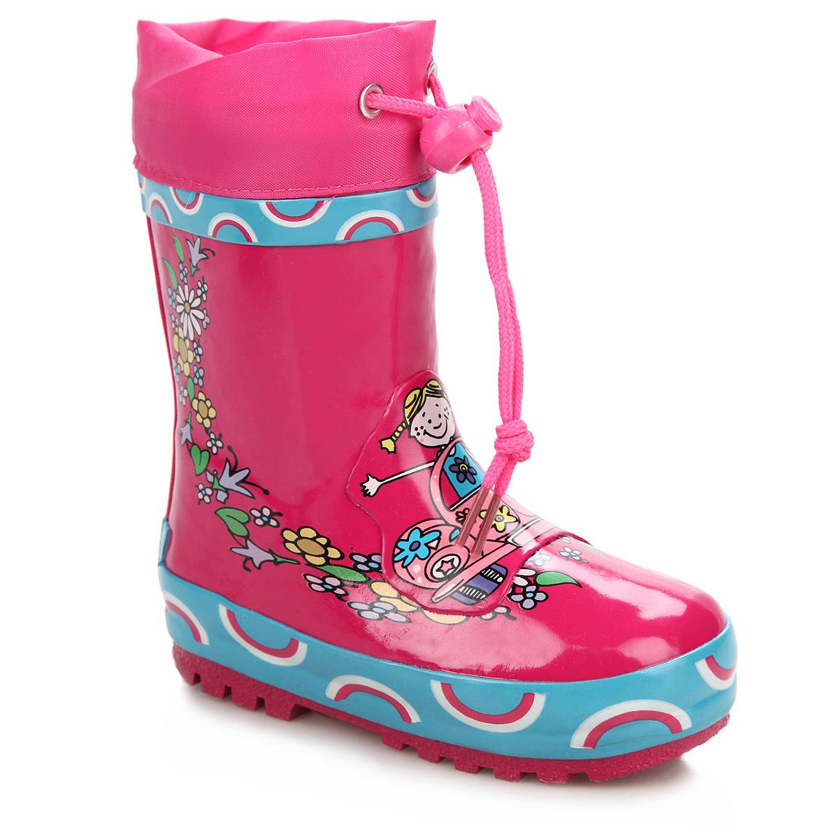 Сапоги резиновые для девочки. W5527W5527Утепленные резиновые сапожки Flamingo для девочек - идеальная обувь в дождливую погоду. Сапоги выполнены из качественной резины, оформлены оригинальным принтом и логотипом бренда. Подкладка из шерсти, подарит ощущение комфорта вашему малышу. Текстильный верх голенища регулируется в объеме за счет шнурка с бегунком. Резиновые сапожки прекрасно защитят ножки вашего ребенка от промокания в дождливый день.
