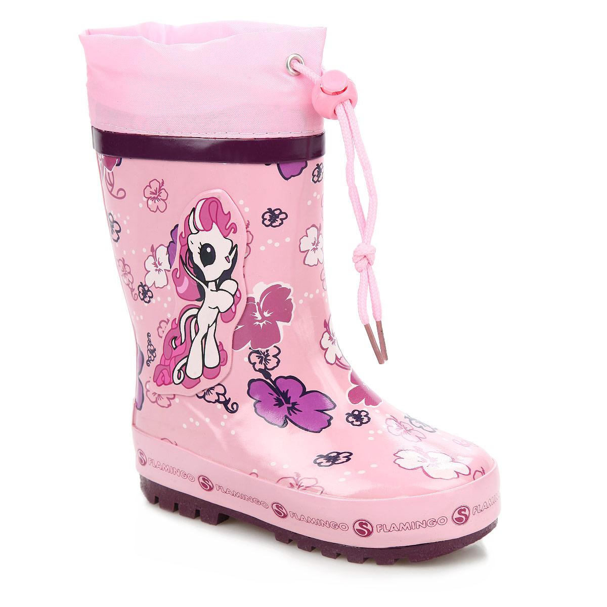 СапогиW5532Прелестные резиновые сапоги от Flamingo помогут вашей девочке создать яркий, запоминающийся образ! Модель изготовлена из качественной резины и оформлена изображением цветов, задним наружным ремнем, на подошве - названием бренда, сбоку - аппликацией в виде очаровательной лошадки. Ширина голенища компенсирует отсутствие застежек. Текстильный верх голенища регулируется в объеме за счет шнурка с бегунком. Внутри - мягкая подкладка и стелька, выполненные из шерсти. Подошва с глубоким рисунком протектора обеспечивает отличное сцепление с любыми поверхностями. Яркие резиновые сапоги поднимут вам и вашему ребенку настроение в дождливую погоду!