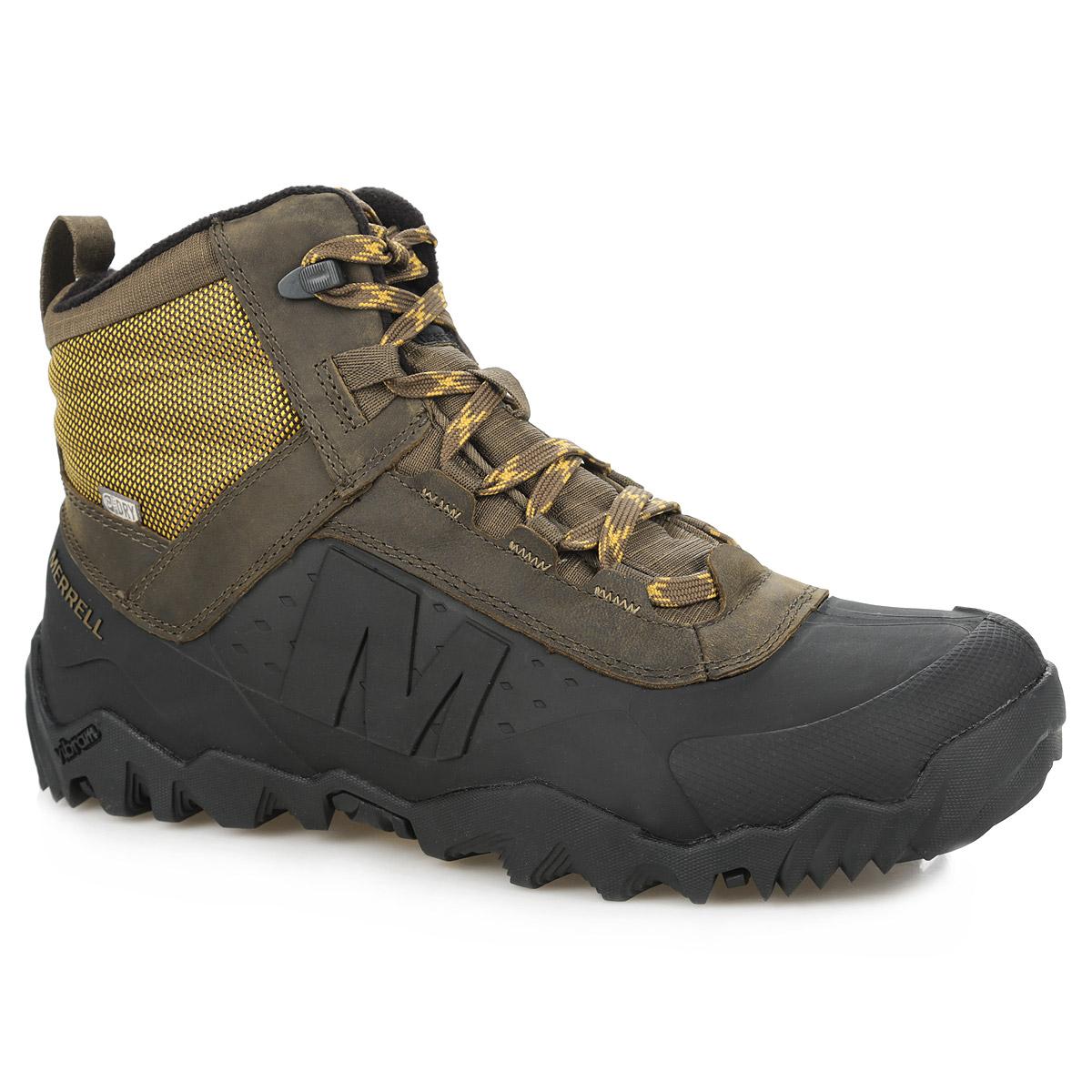 Ботинки мужские Annex Shell 6 Waterproof. J32493J32493Мужские ботинки Annex Shell 6 Waterproof от Merrell прекрасно подойдут для активного отдыха и повседневной носки в холодное время года. Модель выполнена из натуральной кожи с водоотталкивающей пропиткой со вставками из текстиля и синтетической кожи. Обувь оформлена оригинальным плетением на шнурках, на язычке - логотипом бренда, сбоку - названием и логотипом бренда. Нижняя часть ботинок, выполненная из термополиуретана, и мембрана M-Select DRY защищают от проникновения влаги. Шнуровка надежно фиксирует изделие на ноге. Текстильная петля на заднике облегчает надевание обуви. Синтетический утеплитель Thinsulate 200 обеспечивает надежную защиту от холода, а подкладка из флиса с антибактериальной пропиткой M-Select Fresh усиливает термоизоляцию. Промежуточная подошва выполнена из ЭВА с Air Cushion - гибкого, легкого материала, обладающего отличной амортизацией, который стабилизирует и защищает от ударов стопу. Съемная стелька EVA с технологией Active Heat для усиленной термоизоляции...