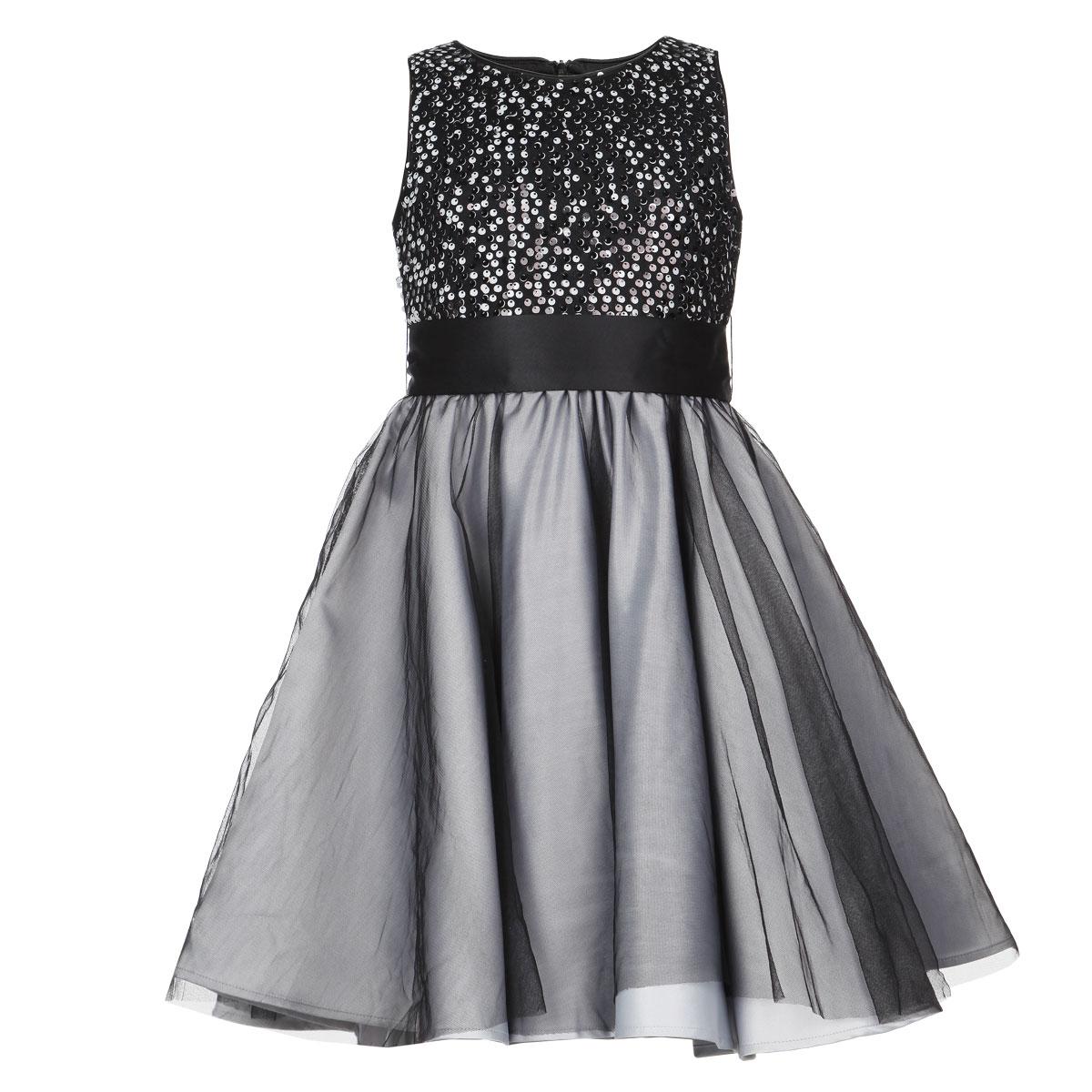 Платье для девочки. 215BBGK2505 - Button Blue215BBGK2505Очаровательное платье для девочки Button Blue идеально подойдет вашей маленькой принцессе. Изготовленное из высококачественного материала, оно необычайно мягкое и приятное на ощупь, не сковывает движения и позволяет коже дышать, не раздражает даже самую нежную и чувствительную кожу ребенка, обеспечивая наибольший комфорт. В качестве подкладки используется натуральный хлопок. Платье без рукавов и с круглым вырезом горловины по спинке застегивается на скрытую застежку-молнию, что позволяет легко переодеть ребенка. Предусмотрены шлевки для ремня. От завышенной линии талии заложены складочки, придающие изделию пышность. Многослойная юбка выполнена из атласного материала и дополнена верхним слоем из микросетки. Верхняя часть платья украшена пайетками. В комплект входит атласный поясок, завязывающийся по спинке в бант. Современный дизайн и модная расцветка делают это платье незаменимым предметом детского гардероба. В нем вашей маленькой принцессе будет комфортно и уютно, и она...
