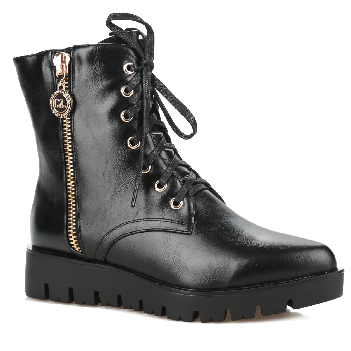 Ботинки женские. 958742/03-01N958742/03-01NОригинальные женские ботинки от Betsy заинтересуют вас своим дизайном с первого взгляда! Модель выполнена из искусственной кожи. Подкладка и стелька, изготовленные из мягкой байки, защитят ноги от холода и обеспечат комфорт. Верх изделия оформлен шнуровкой, которая прочно зафиксирует модель на вашей ноге. Металлическая молния украшает одну из боковых сторон. Умеренной высоты подошва с рифленым рисунком обеспечивают отличное сцепление с поверхностью. Ботинки застегиваются на молнию. В этих ботинках вашим ногам будет комфортно и уютно. Они подчеркнут ваш стиль и индивидуальность.