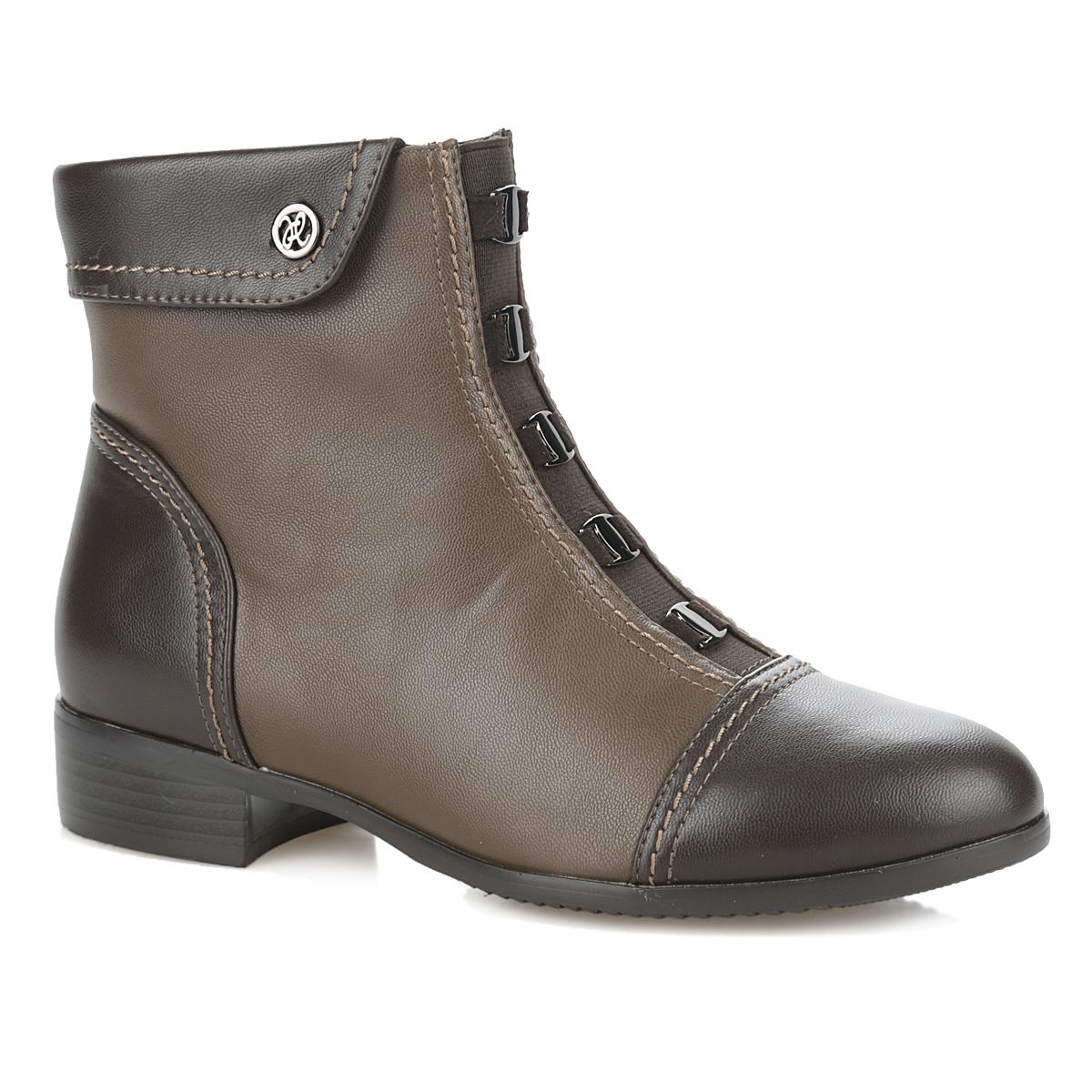 Ботинки женские. 35-76-05D135-76-05D1Оригинальные женские ботинки от Makfly - отличный вариант на каждый день. Модель изготовлена из искусственной кожи. Подкладка и стелька - из мягкой байки, защитят ноги от холода и обеспечат комфорт. Верх голенища дополнен декорированным отворотом. Подъем украшен небольшими декоративными элементами. Мыс изделия и пятка декорированы кожей контрастного цвета. Умеренной высоты каблук устойчив. Подошва из термопластичной резины с рельефным протектором обеспечивает отличное сцепление на любой поверхности. В этих ботинках вашим ногам будет комфортно и уютно. Они подчеркнут ваш стиль и индивидуальность.