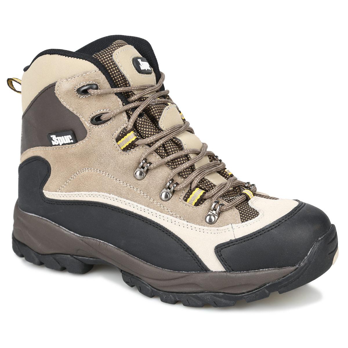 Ботинки мужские. 1SP_09-A231SP_09-A23Стильные ботинки от Spur идеально подходят для ношения в городе в холодную погоду и для прогулок. Модель выполнена из спилока и искусственной кожи. На мыске имеется защитная накладка, защищающая ногу от ударов. Задник оснащен текстильной петелькой для удобства надевания ботинок. Шнуровка позволяет надежно фиксировать модель на ноге. Подкладка и стелька из шерсти сохранят ваши ноги в тепле. Агрессивный протектор подошвы обеспечит отличное сцепление с поверхностью в любых условиях. В них вашим ногам будет комфортно и уютно.
