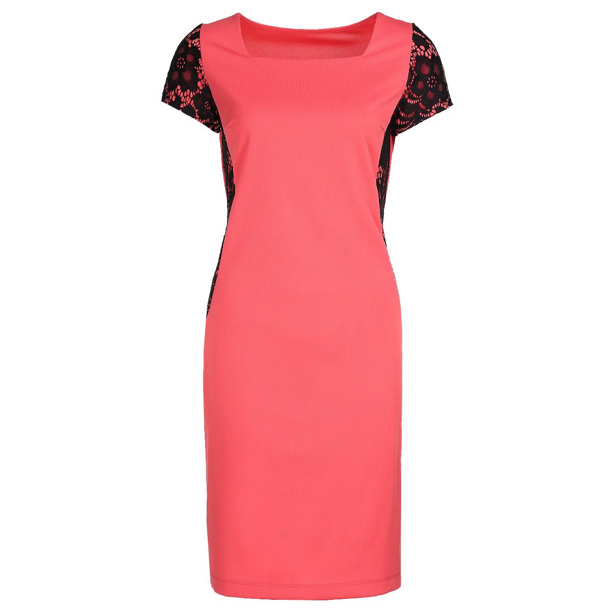 Платье. 16821682Очаровательное платье Milana Style, выполненное из высококачественного материала, будет отлично на вас смотреться. Модель приталенного кроя с короткими рукавами и вырезом горловины каре подчеркнет ваш стиль. Рукава и бока платья оформлены ажурными вставками контрастного цвета. Идеальный вариант для тех, кто ценит комфорт и качество.