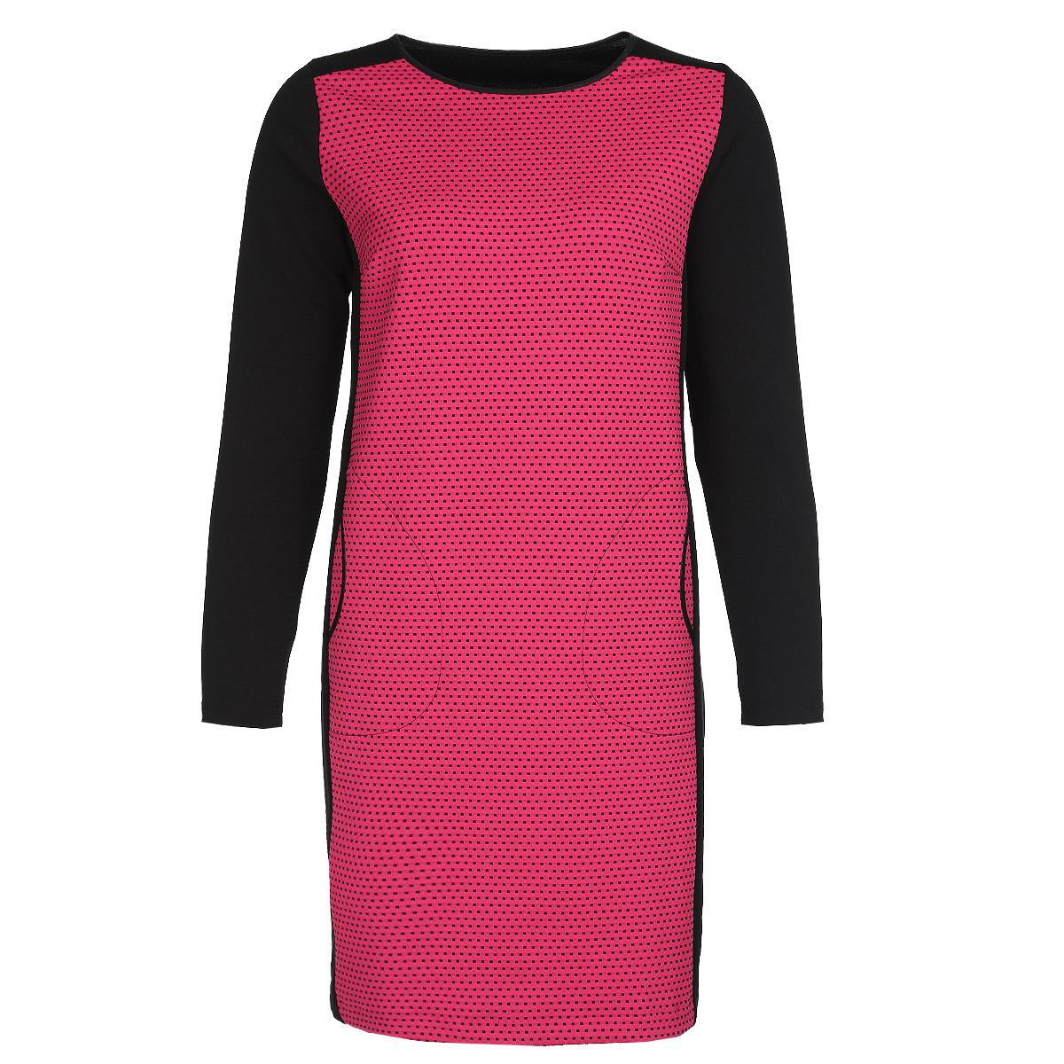 Платье. 15461546Стильное платье Milana Style, выполненное из высококачественного материала, будет отлично на вас смотреться. Модель прямого кроя с длинными рукавами и круглым вырезом горловины подчеркнет ваш стиль. Изделие дополнено двумя боковыми втачными карманами. Трикотажное платье средней длины выполнено в безупречной гармоничной цветовой гамме. Идеальный вариант для тех, кто ценит комфорт и качество.
