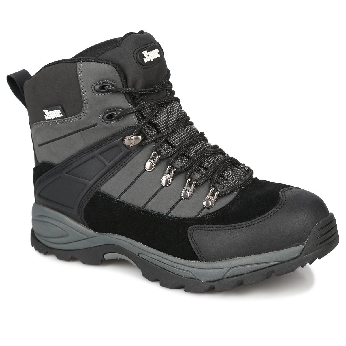 Ботинки мужские. 1SP_09-A201SP_09-A20Стильные ботинки от Spur идеально подходят для ношения в городе в холодную погоду и для прогулок. Модель выполнена из спилока и искусственной кожи. На мыске имеется защитная накладка, защищающая ногу от ударов. Задник оснащен петелькой для удобства надевания ботинок. Шнуровка позволяет надежно фиксировать модель на ноге. Подкладка и стелька из шерсти сохранят ваши ноги в тепле. Агрессивный протектор подошвы обеспечит отличное сцепление с поверхностью в любых условиях. В них вашим ногам будет комфортно и уютно.