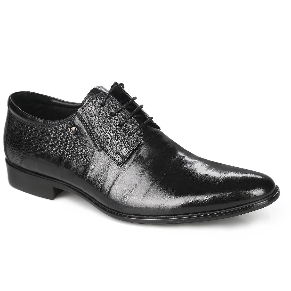 Туфли мужские. 102-24-133102-24-133Стильные мужские туфли от Dino Ricci не оставят вас равнодушным! Модель выполнена из натуральной кожи и оформлена декоративным тиснением. Стелька, выполненная из натуральной кожи, обеспечивает комфорт при ходьбе. Шнуровка позволяет надежно фиксировать модель на ноге. Подошва и каблук дополнены противоскользящим рифлением. Туфли в классическим стиле станут прекрасным дополнением вашего образа.