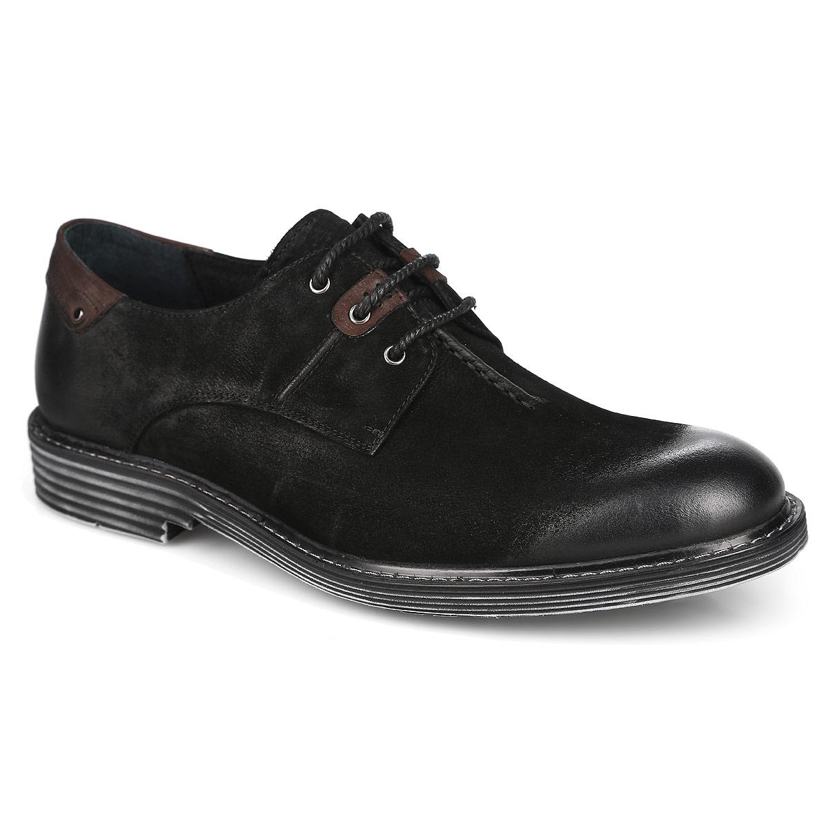 Туфли мужские. 104-165-24104-165-24Модные мужские туфли от Dino Ricci покорят вас своим удобством. Модель выполнена из натурального нубука. Стелька, выполненная из натуральной кожи, обеспечивает комфорт при ходьбе. Шнуровка позволяет надежно фиксировать модель на ноге. Подошва и каблук дополнены противоскользящим рифлением. Вдоль ранта подошва оформлена прострочкой. Эффект потертости подошвы придает изделию изюминку. Стильные туфли прекрасно впишутся в ваш гардероб.