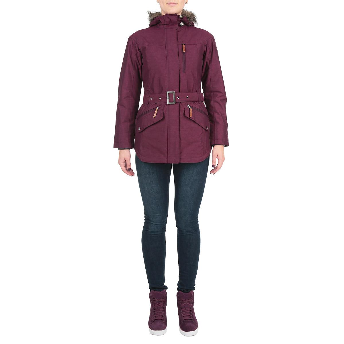 Куртка женская. WL4117-562WL4117-562Удлиненная женская куртка Columbia Carson Pass II Jacket обеспечит тепло и комфорт даже в самую холодную погоду. Куртка изготовлена из водоотталкивающего материала с мембраной Omni-Tech. Утеплитель и подкладка Omni-Heat обеспечивают оптимальную температурную регуляцию при максимальной легкости изделия. Данная система термального отражения согревает лучше, отражая тепло, которое вырабатывает тело, она также помогает регулировать температуру тела, способствуя выходу избыточных тепла и тела. Швы проклеены в критических местах. Куртка приталенного кроя с капюшоном застегивается на пластиковую застежку-молнию с двойным бегунком и дополнительно имеет внешний ветрозащитный клапан на застежках-кнопках. Регулируемый капюшон не отстегивается и дополнен по краю скрытой эластичной резинкой со специальными фиксаторами и застегивается под подбородком клапаном на пуговицы. Также капюшон дополнен съемной опушкой из искусственного меха. Опушка пристегивается с помощью застежек-кнопок. Низ...