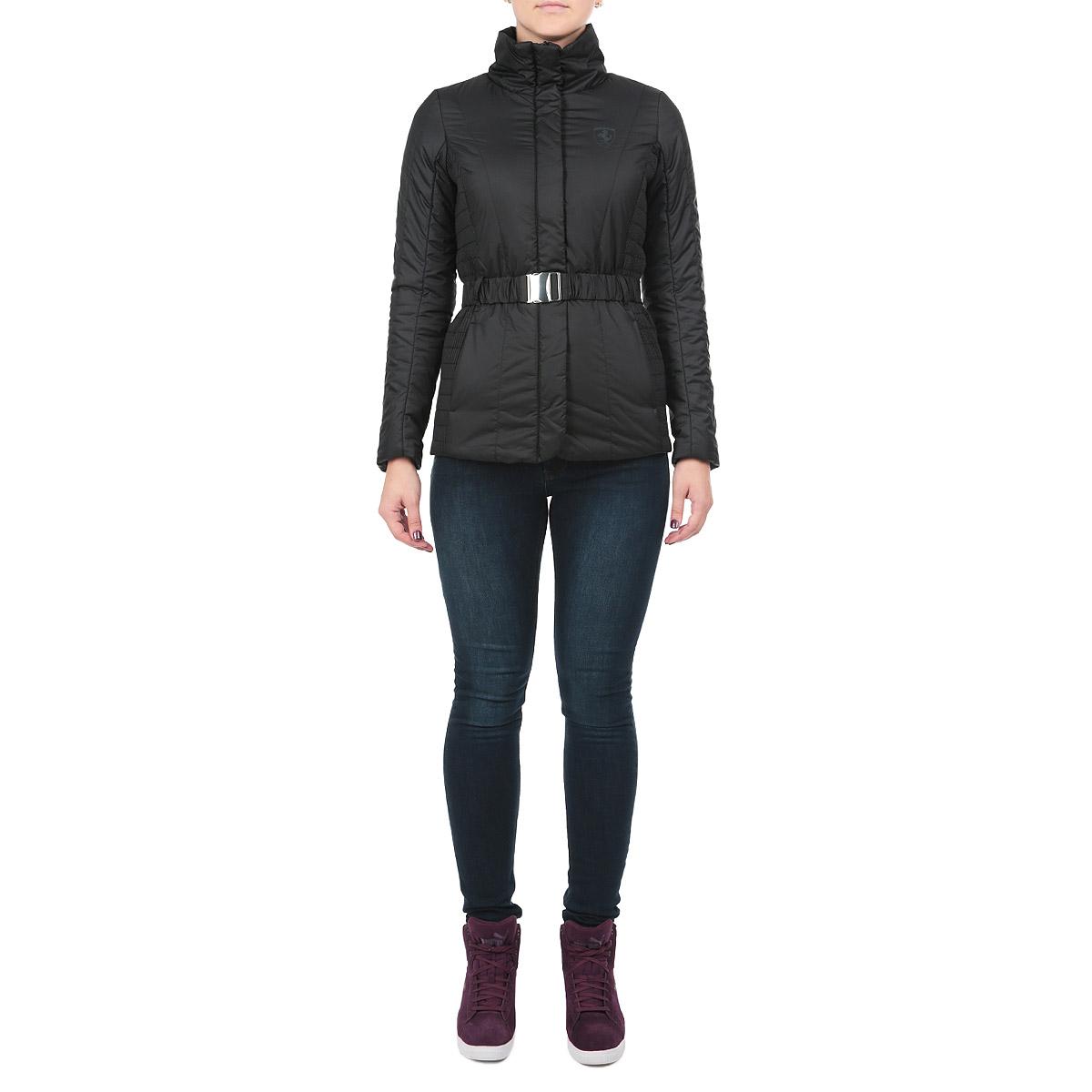 Куртка женская. 5693440156934401Оригинальная женская куртка Puma, выполненная из полиэстера, идеально подойдет тем, кто ценит стиль и практичность. Использование боковых стеганых узоров создает женственный силуэт, который выгодно подчеркивает фигуру. Модель застегивается на молнию контрастного цвета и на кнопки по всей длине изделия. Воротник-стойка и специальный клапан от продувания центральной молнии надежно защитят от прохладного ветра. Карманы, открытые, врезные, расположены в боковых швах. На талии имеются шлевки для ремня. В комплект входит пояс в тон куртке с металлической застежкой. Стильная куртка станет превосходным вариантом для вашего повседневного гардероба.