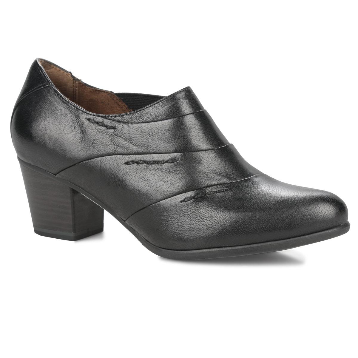 Ботильоны. 1-24406-25-0011-24406-25-001Эффектные ботильоны от Tamaris займут достойное место в вашем гардеробе. Модель выполнена из натуральной кожи и оформлена крупными декоративными швами. Резинка, расположенная сбоку, надежно фиксирует обувь на ноге. Подкладка и стелька из натуральной кожи позволяют ногам дышать. Невысокий каблук, стилизованный под дерево, устойчив. Рифленая поверхность каблука и подошвы защищает изделие от скольжения. Модные ботильоны помогут вам создать яркий образ!