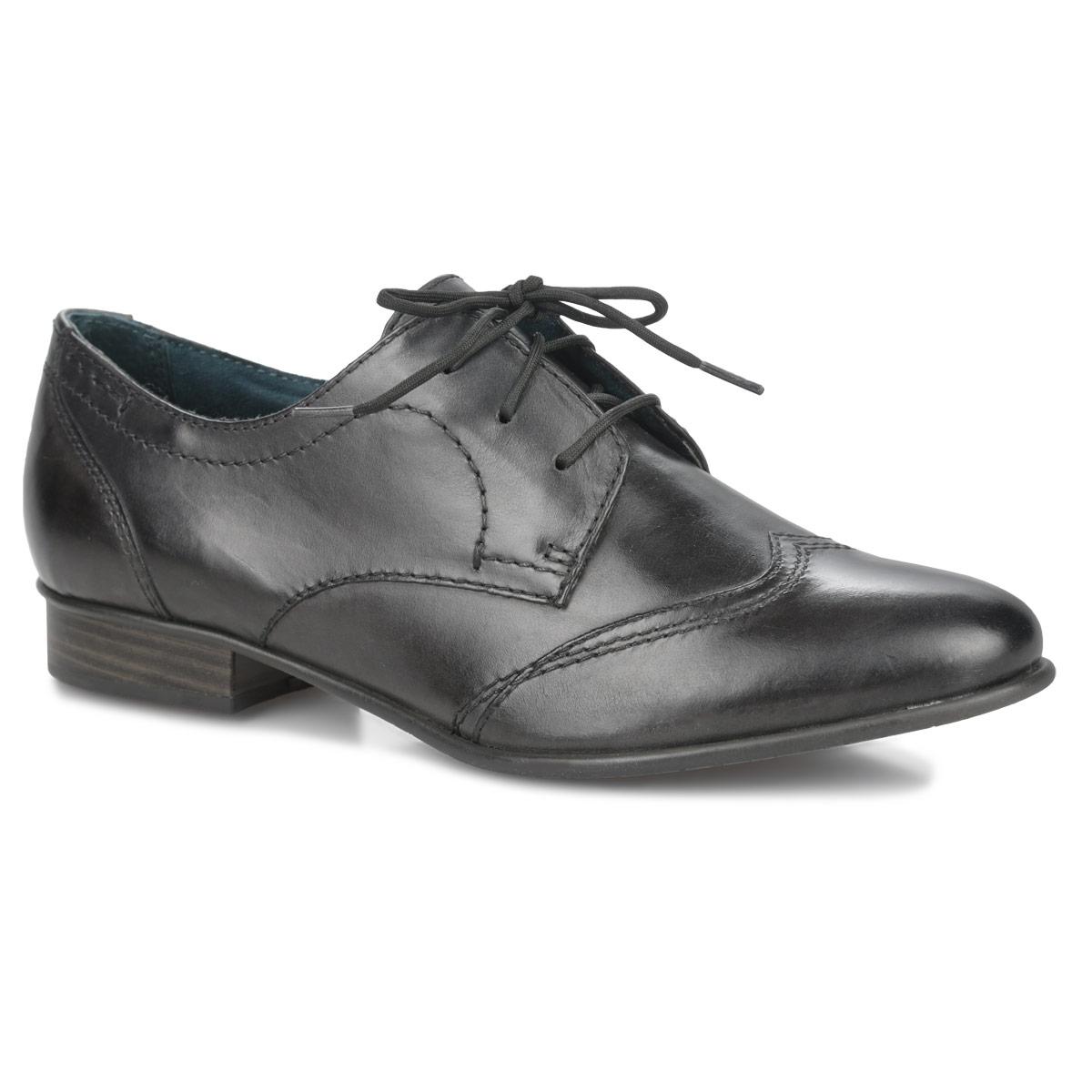 1-1-23203-25-016Строгие женские полуботинки от Tamaris помогут вам создать солидный деловой имидж. Модель выполнена из натуральной кожи и декорирована лаконичной прострочкой. Шнуровка обеспечивает оптимальную посадку обуви на ноге. Невероятно мягкая кожаная стелька, оформленная названием бренда, комфортна при движении. Невысокий каблук стилизован под дерево. Подошва с рифлением в виде фирменного рисунка защищает изделие от скольжения. Модные полуботинки покорят вас своим удобством!